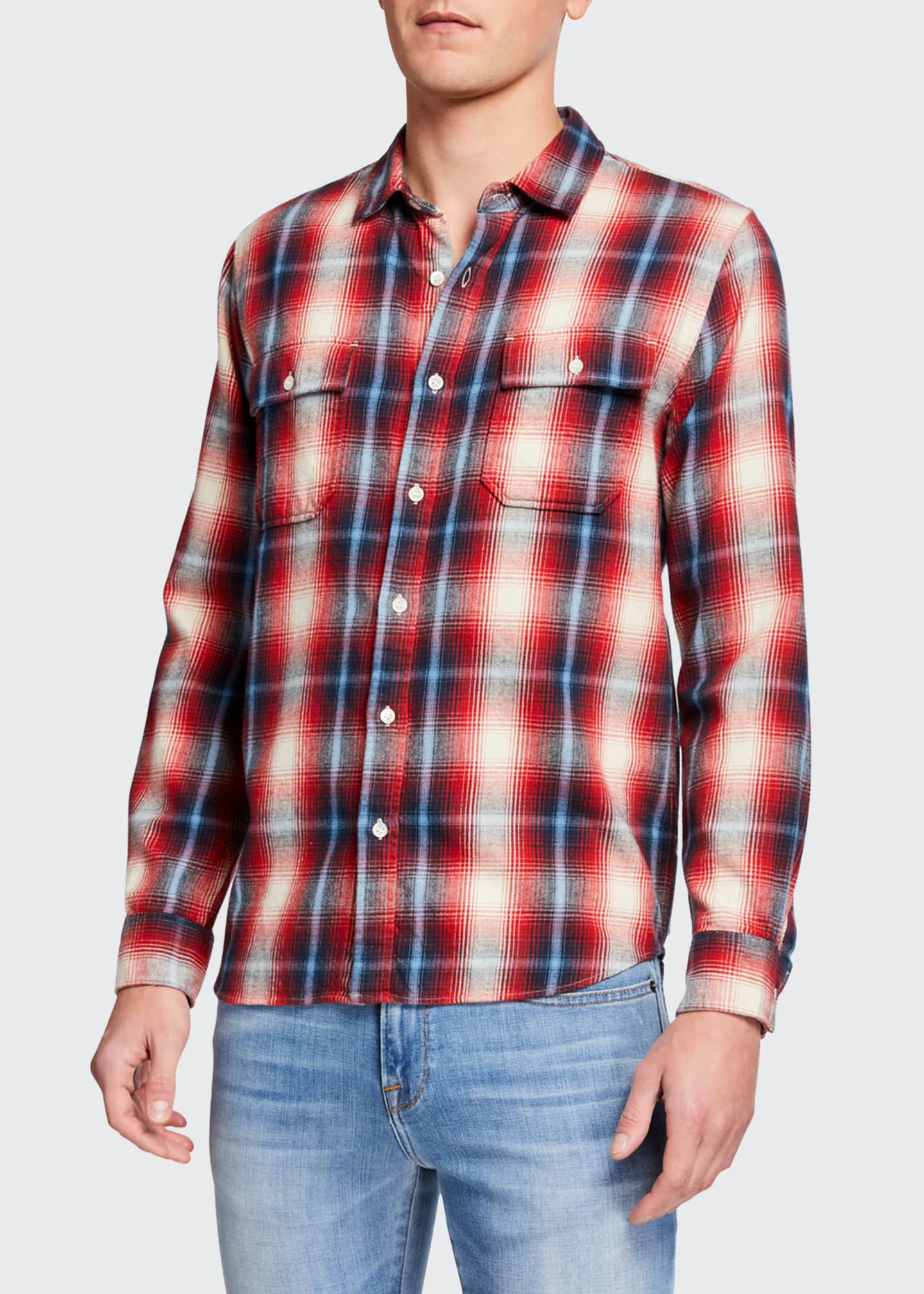 Image 2 of 3: Men's Double-Pocket Plaid Twill Sport Shirt