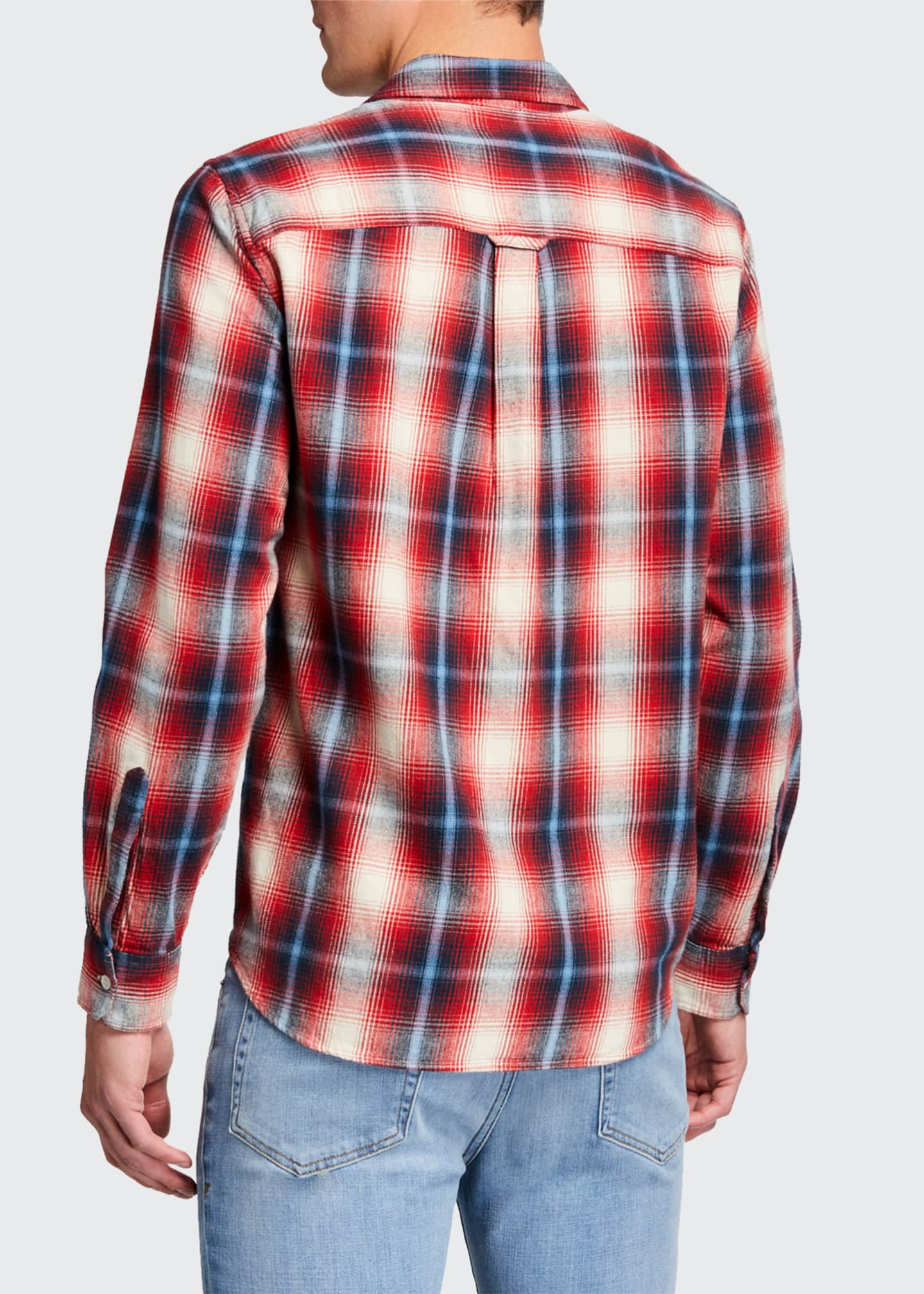 Image 3 of 3: Men's Double-Pocket Plaid Twill Sport Shirt