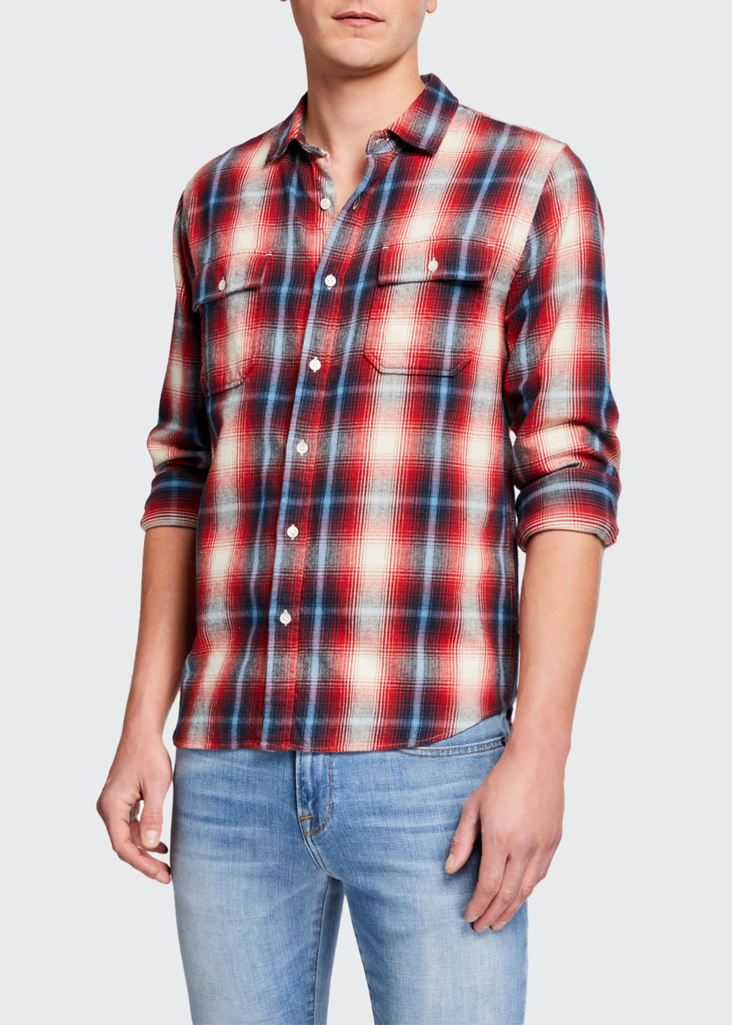 Men's Double-Pocket Plaid Twill Sport Shirt