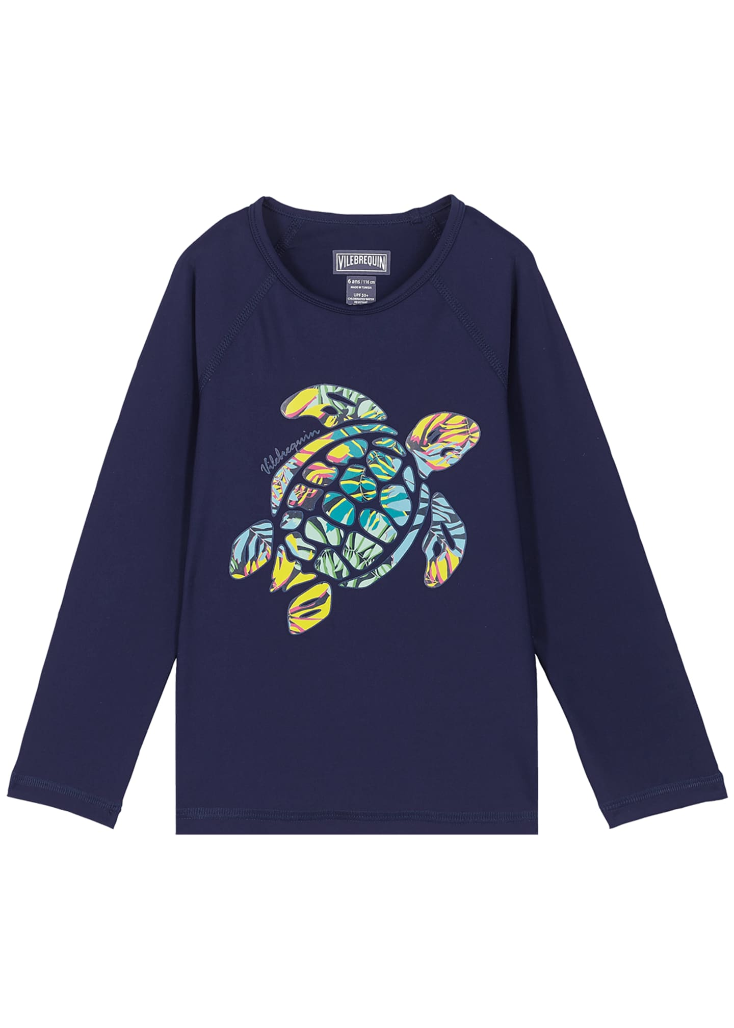 Vilebrequin Kid's Glassy Turtle Print Long-Sleeve Rash Guard,