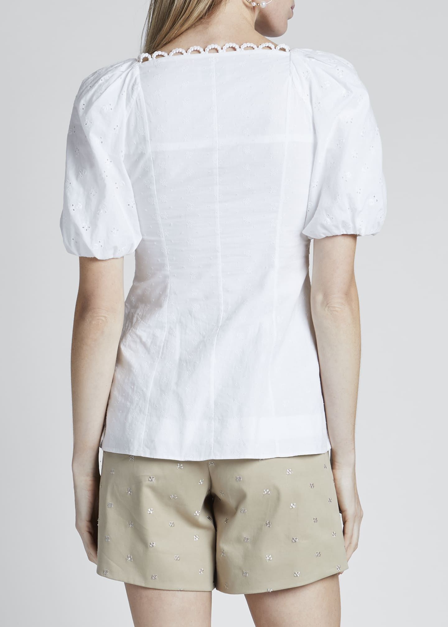 Image 2 of 3: Puff-Sleeve Poplin Button-Front Top
