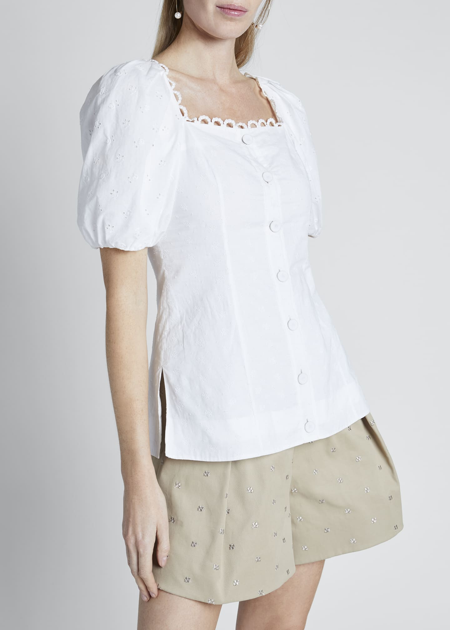 Image 3 of 3: Puff-Sleeve Poplin Button-Front Top