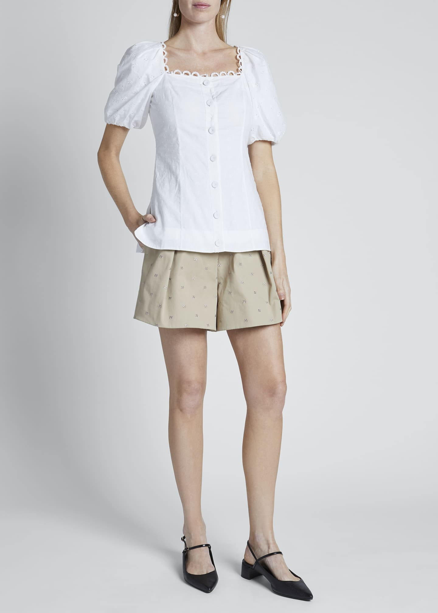 Image 1 of 3: Puff-Sleeve Poplin Button-Front Top