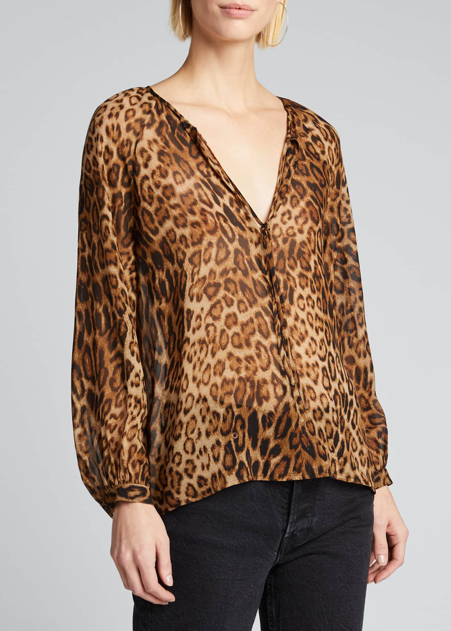 Image 3 of 5: Rosette Animal Silk Chiffon Top