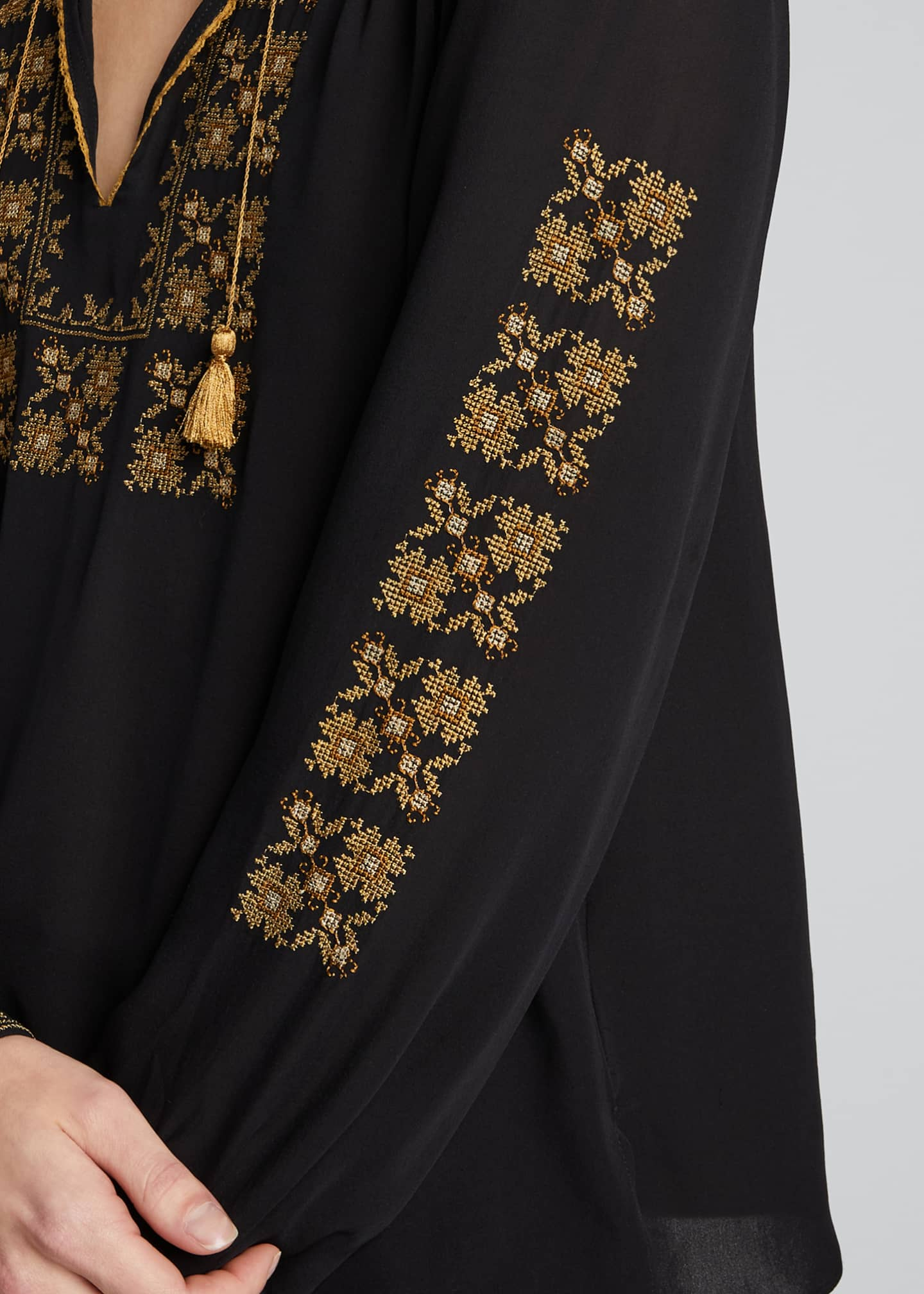 Image 4 of 5: Karina Palestinian Embroidered Top