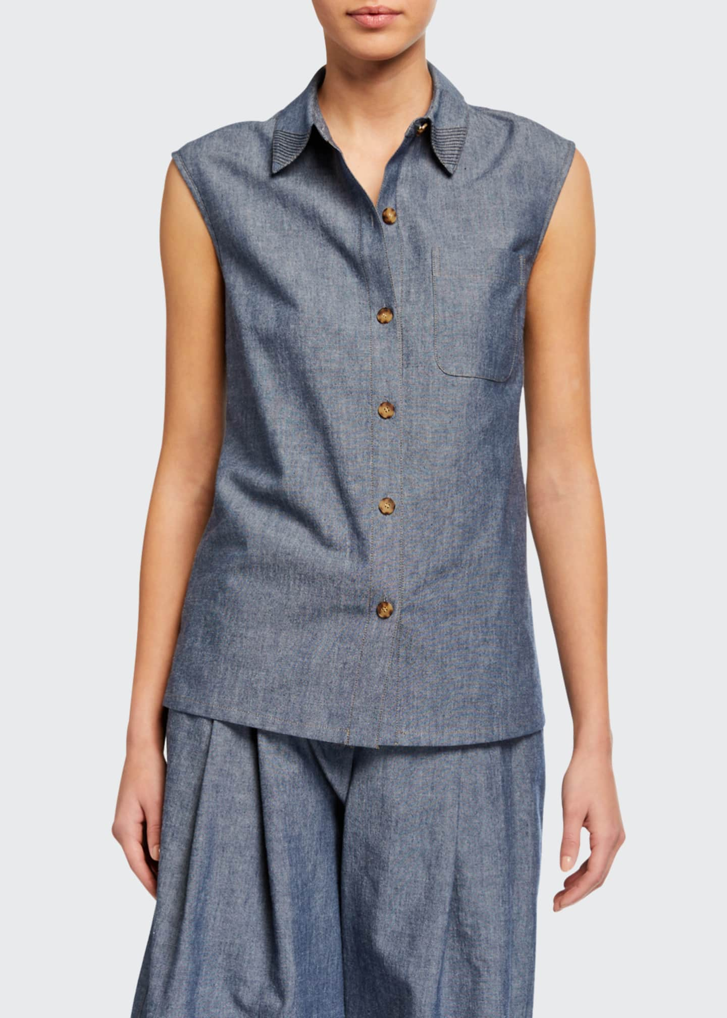 Image 1 of 2: Yani Washi Cloth Sleeveless Button-Front Blouse