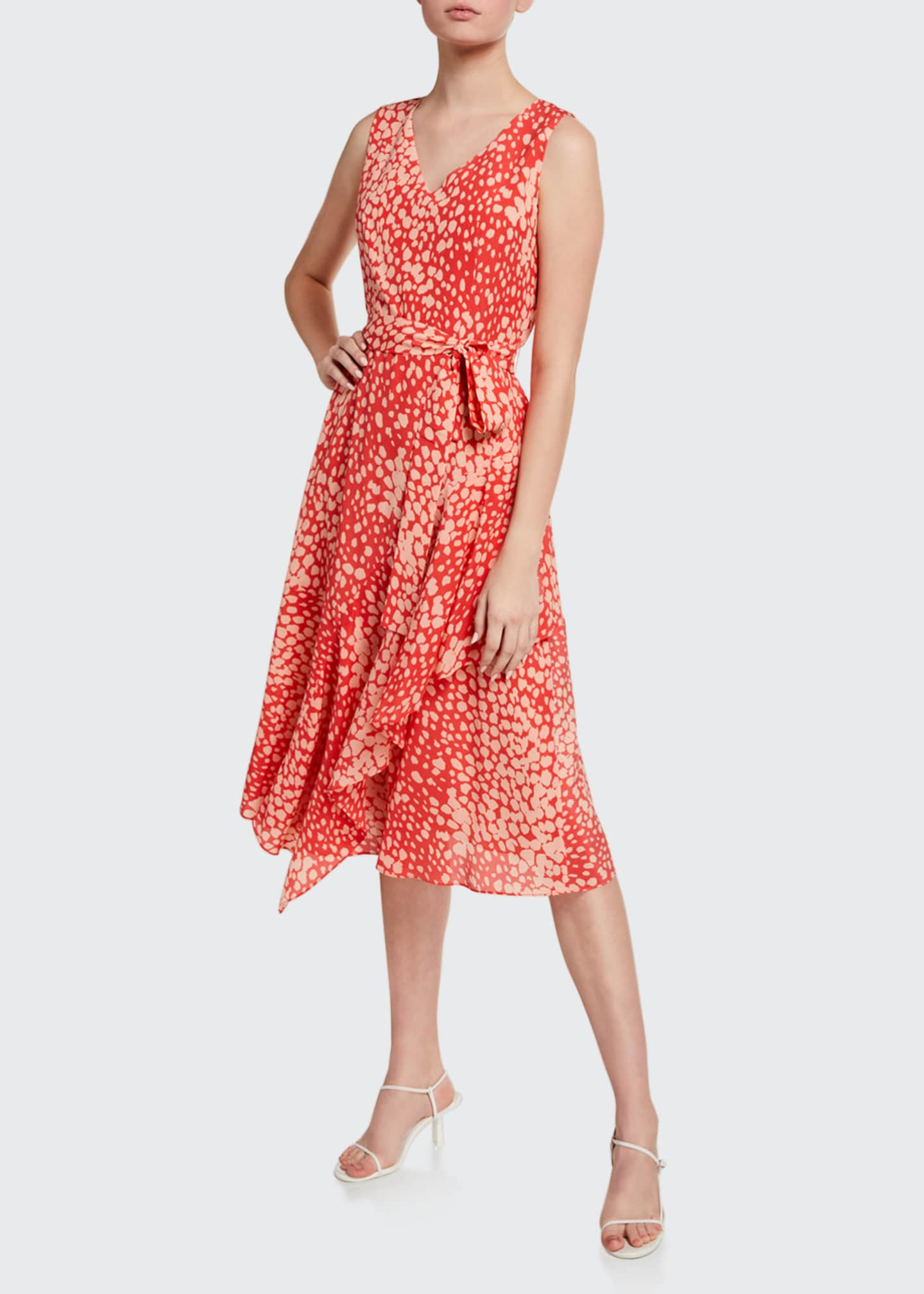 Image 1 of 2: Telson Speckle Print Sleeveless Silk Dress
