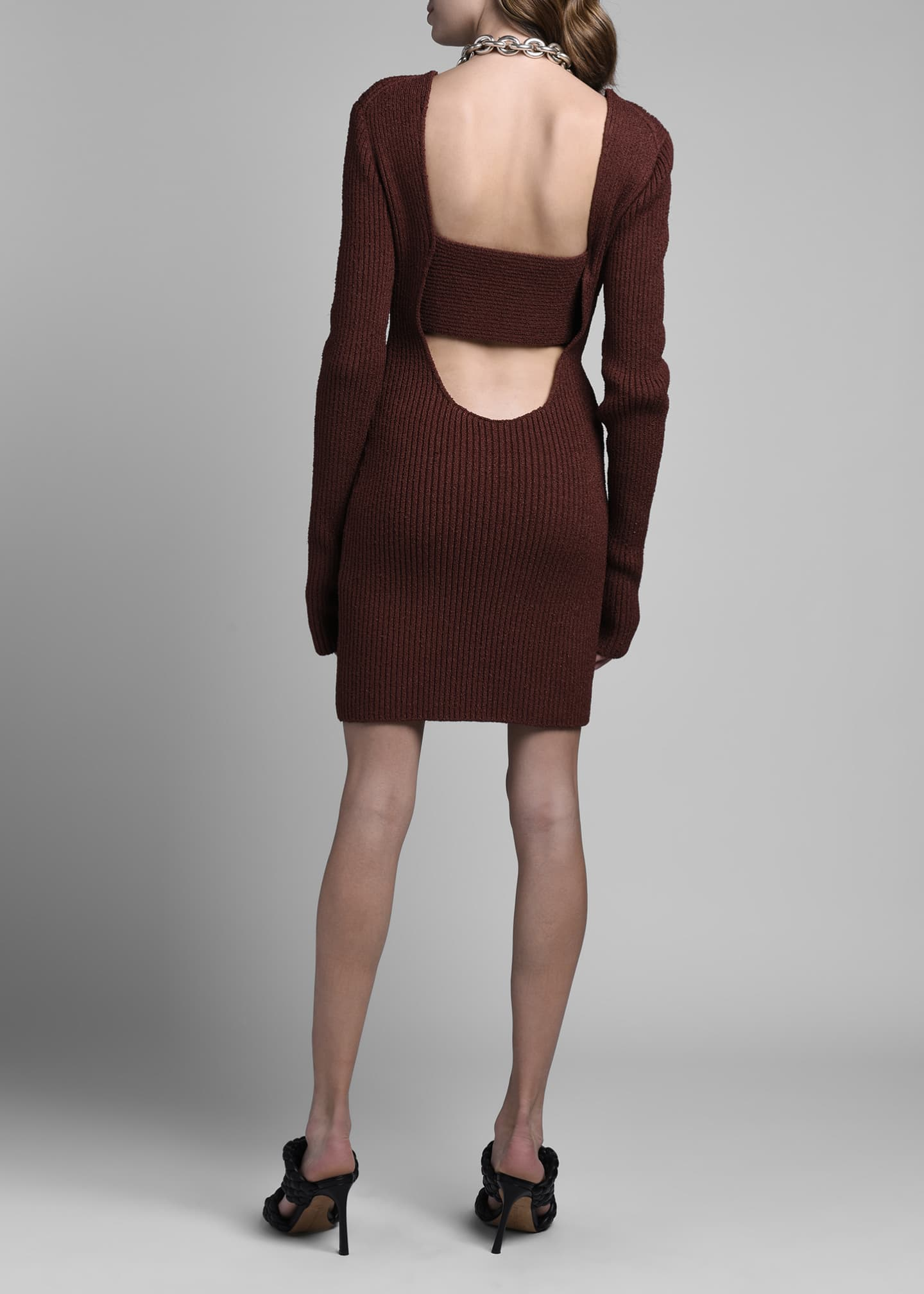 Image 2 of 4: Long-Sleeve Silk Ribbed Sweaterdress