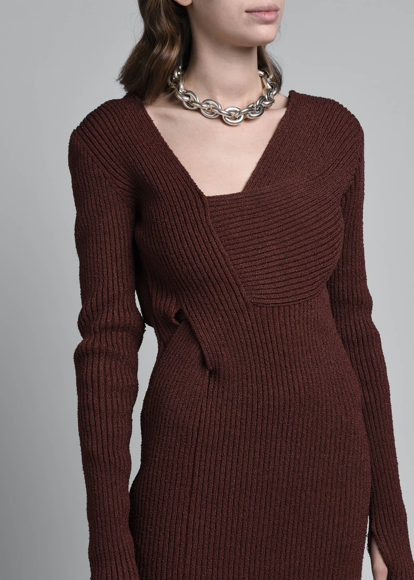 Image 3 of 4: Long-Sleeve Silk Ribbed Sweaterdress