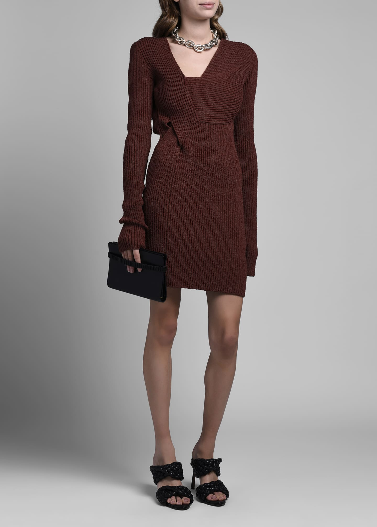Image 1 of 4: Long-Sleeve Silk Ribbed Sweaterdress