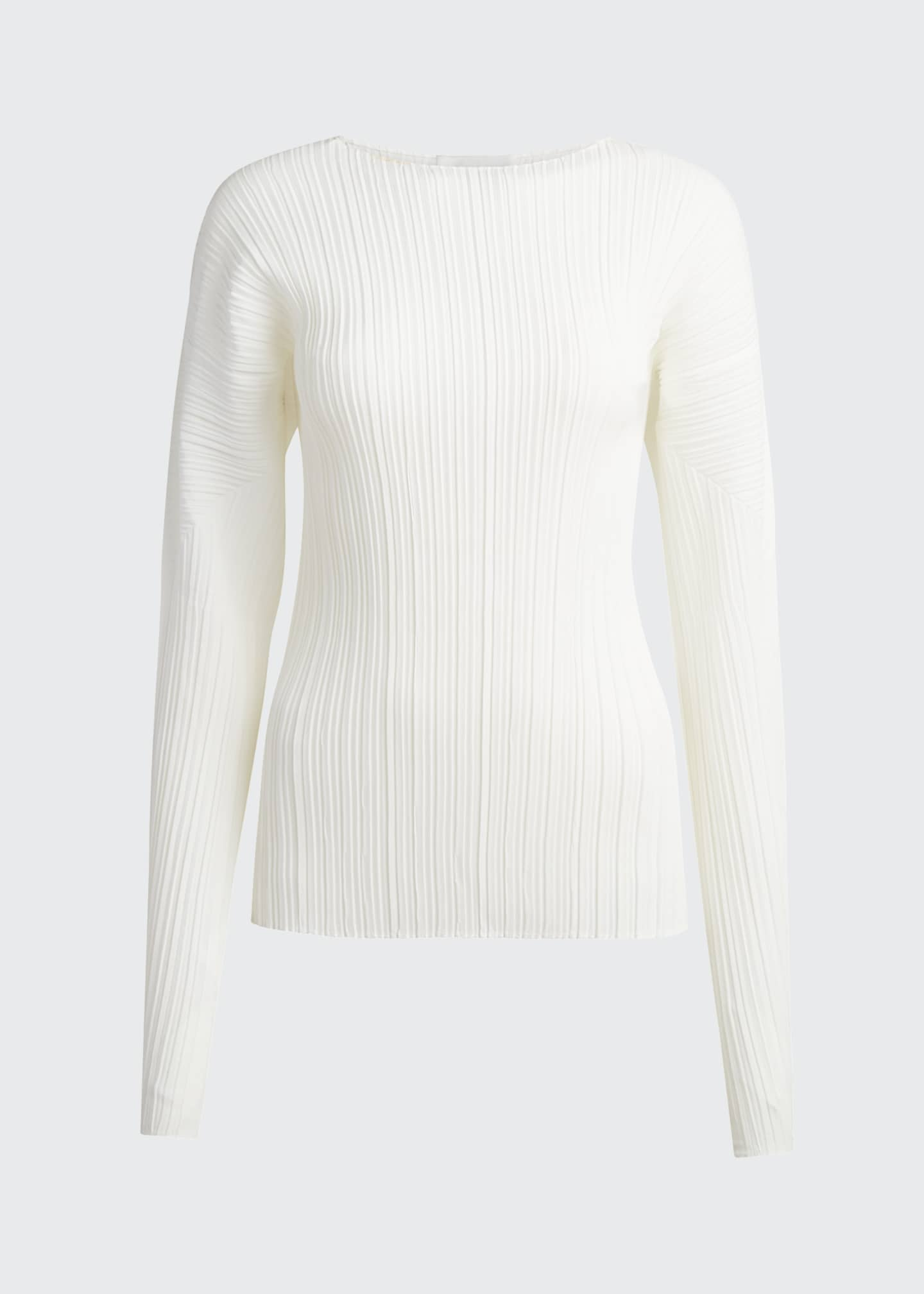 Image 5 of 5: Long-Sleeve Mushroom Pleated Top