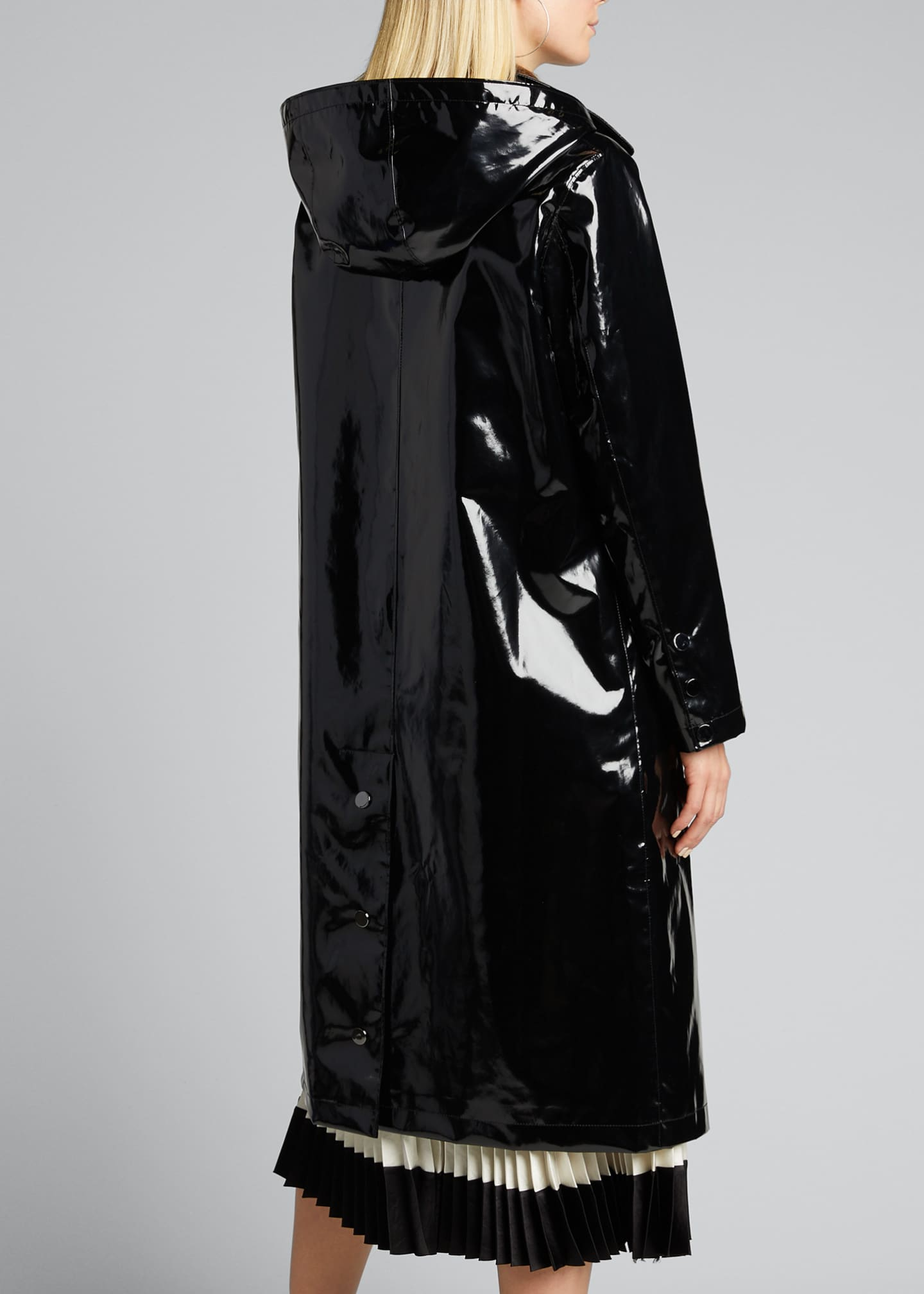 Image 2 of 5: Hooded Snap-Front Long Rain Slicker Coat