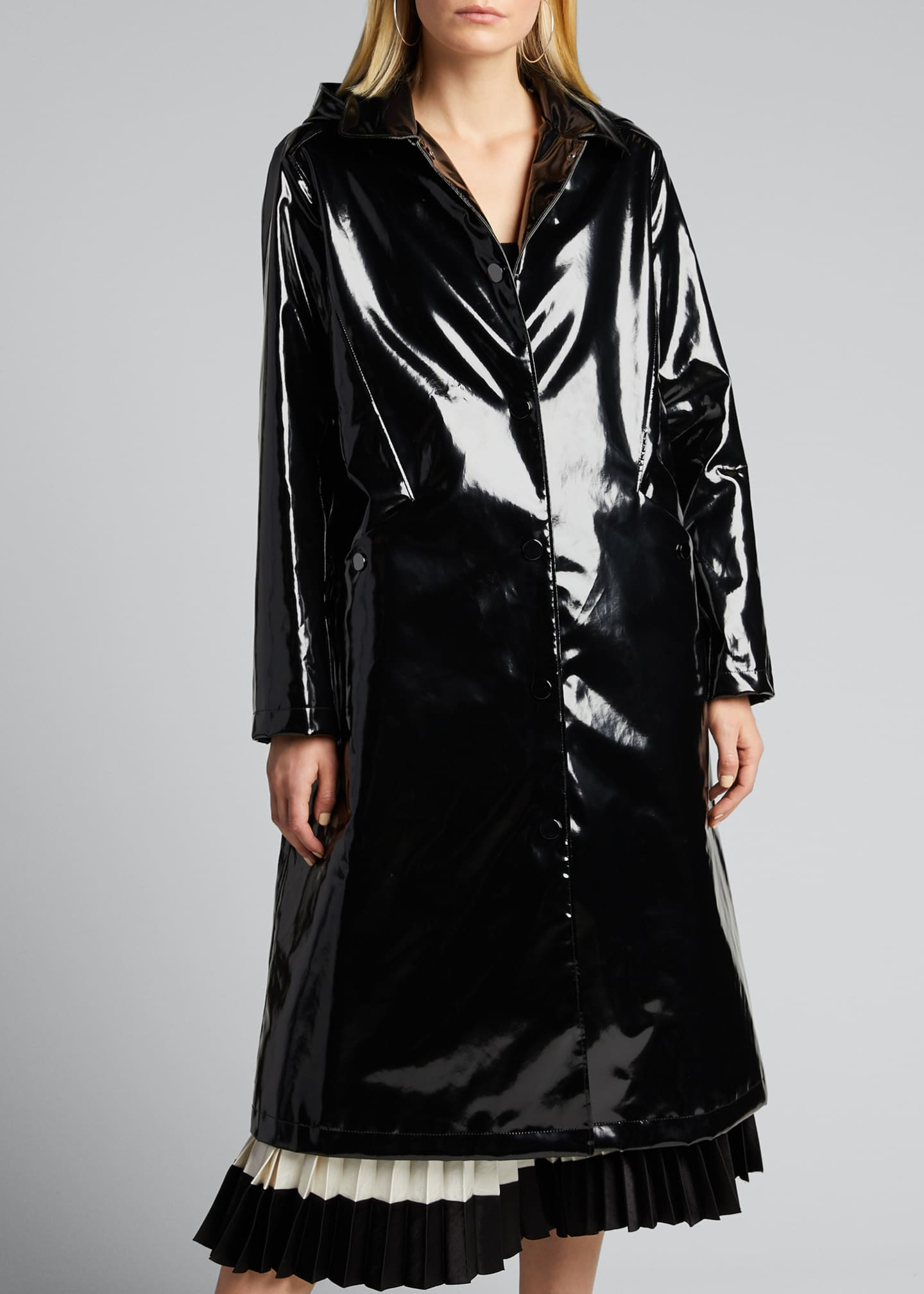 Image 3 of 5: Hooded Snap-Front Long Rain Slicker Coat