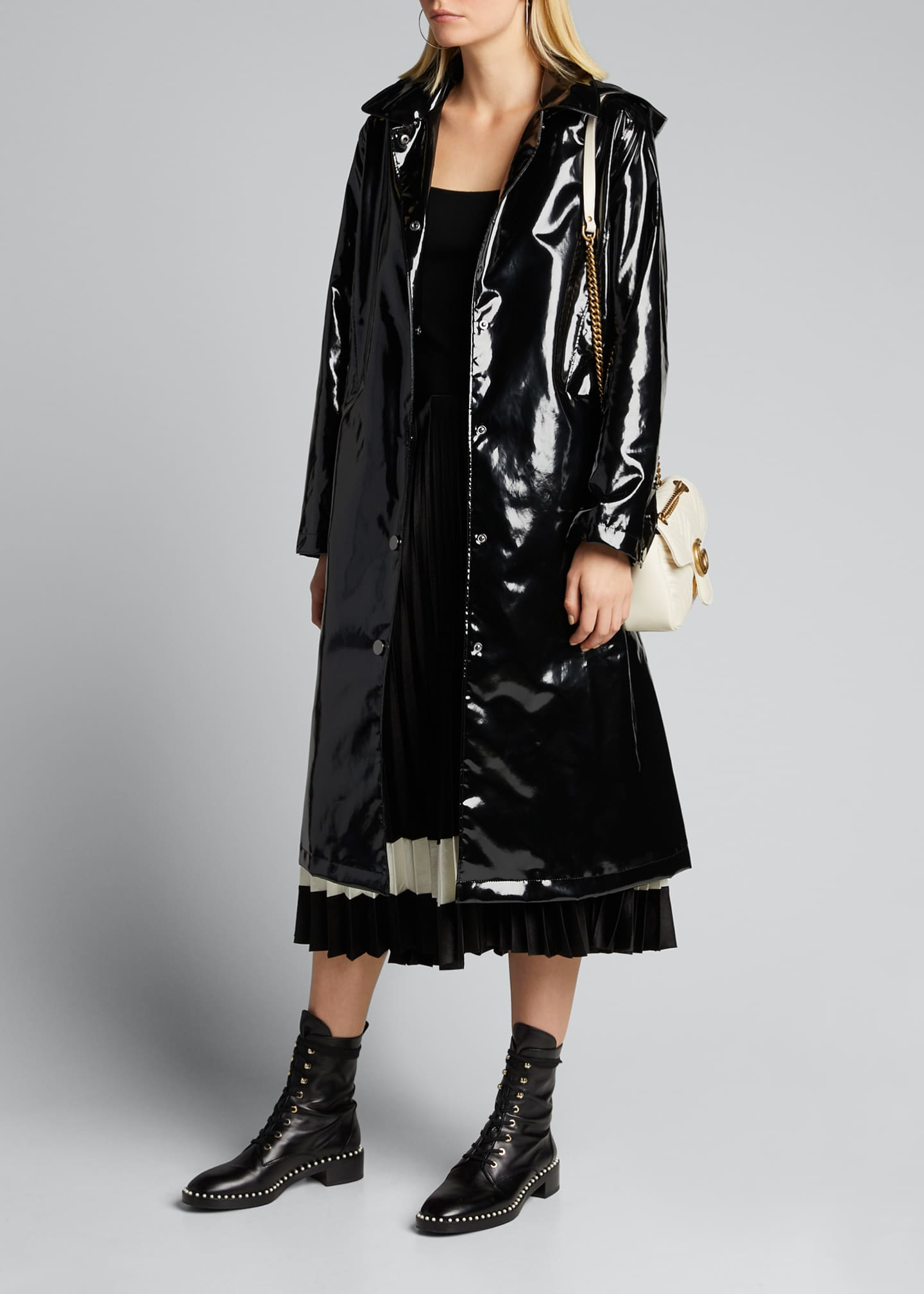 Image 1 of 5: Hooded Snap-Front Long Rain Slicker Coat