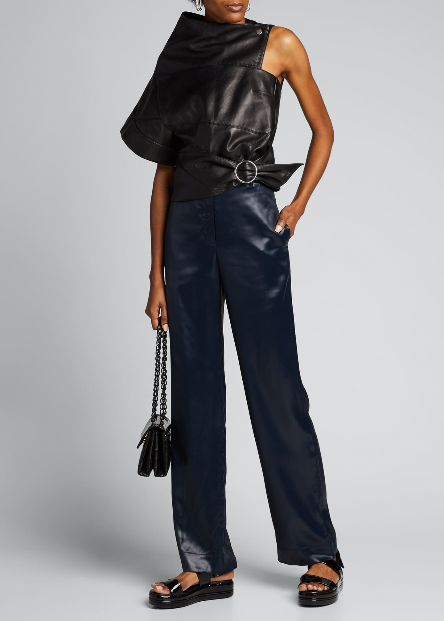 Image 1 of 5: Sleek Full-Leg Trousers