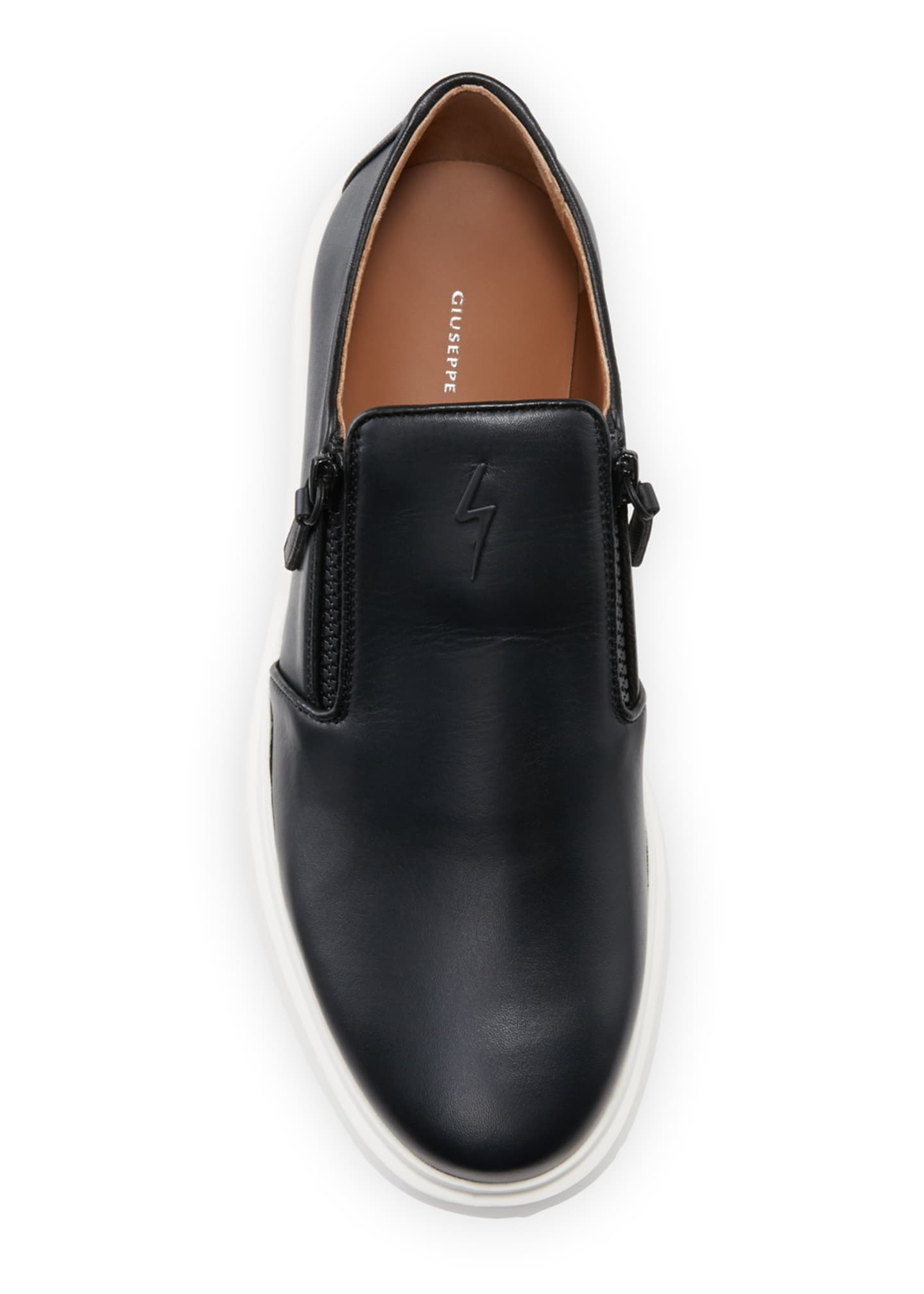 Image 2 of 4: Men's Leather Slip-On Zip Sneakers