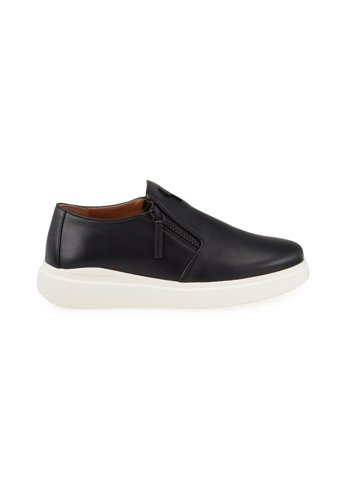 Image 3 of 4: Men's Leather Slip-On Zip Sneakers