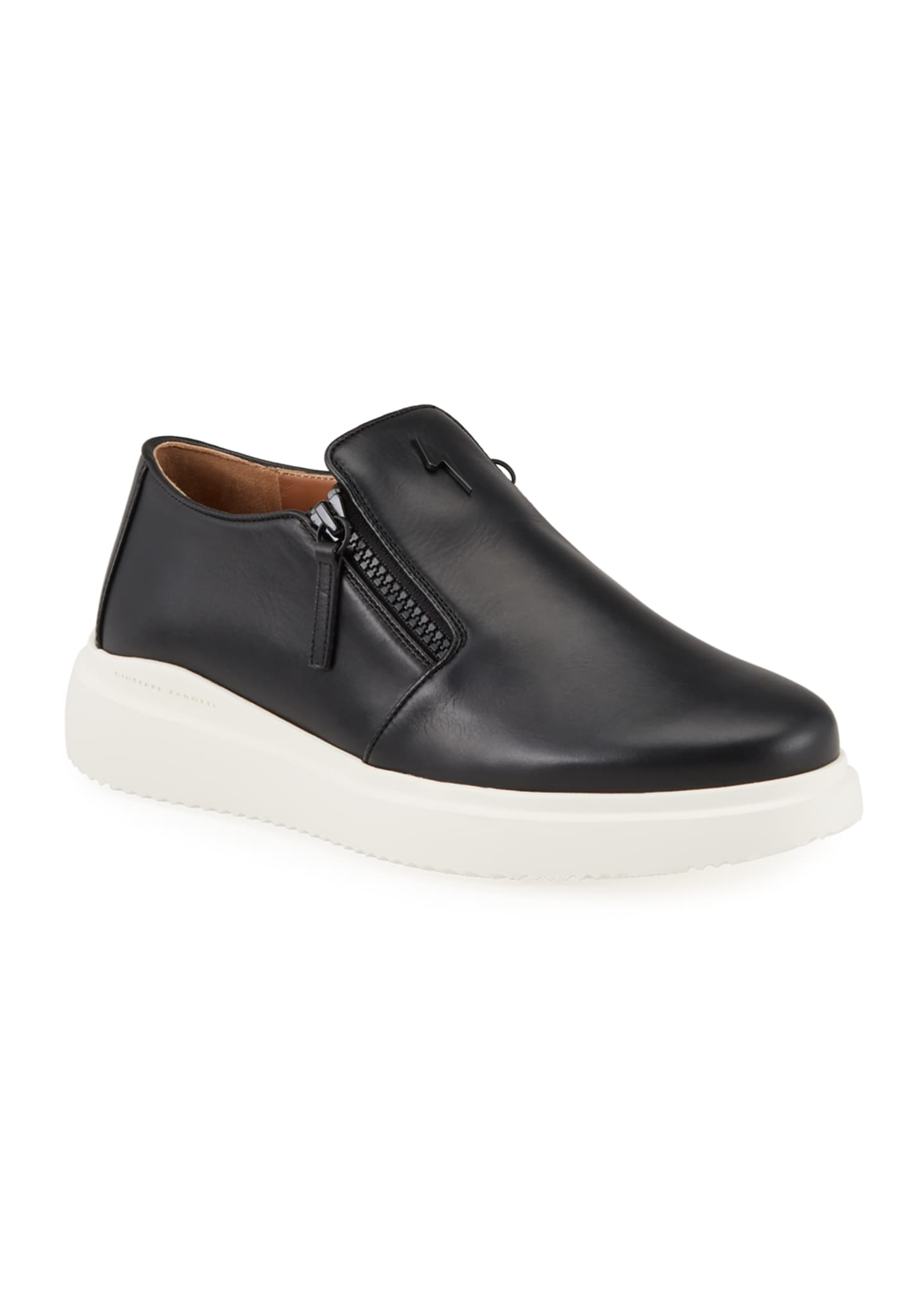 Men's Leather Slip-On Zip Sneakers