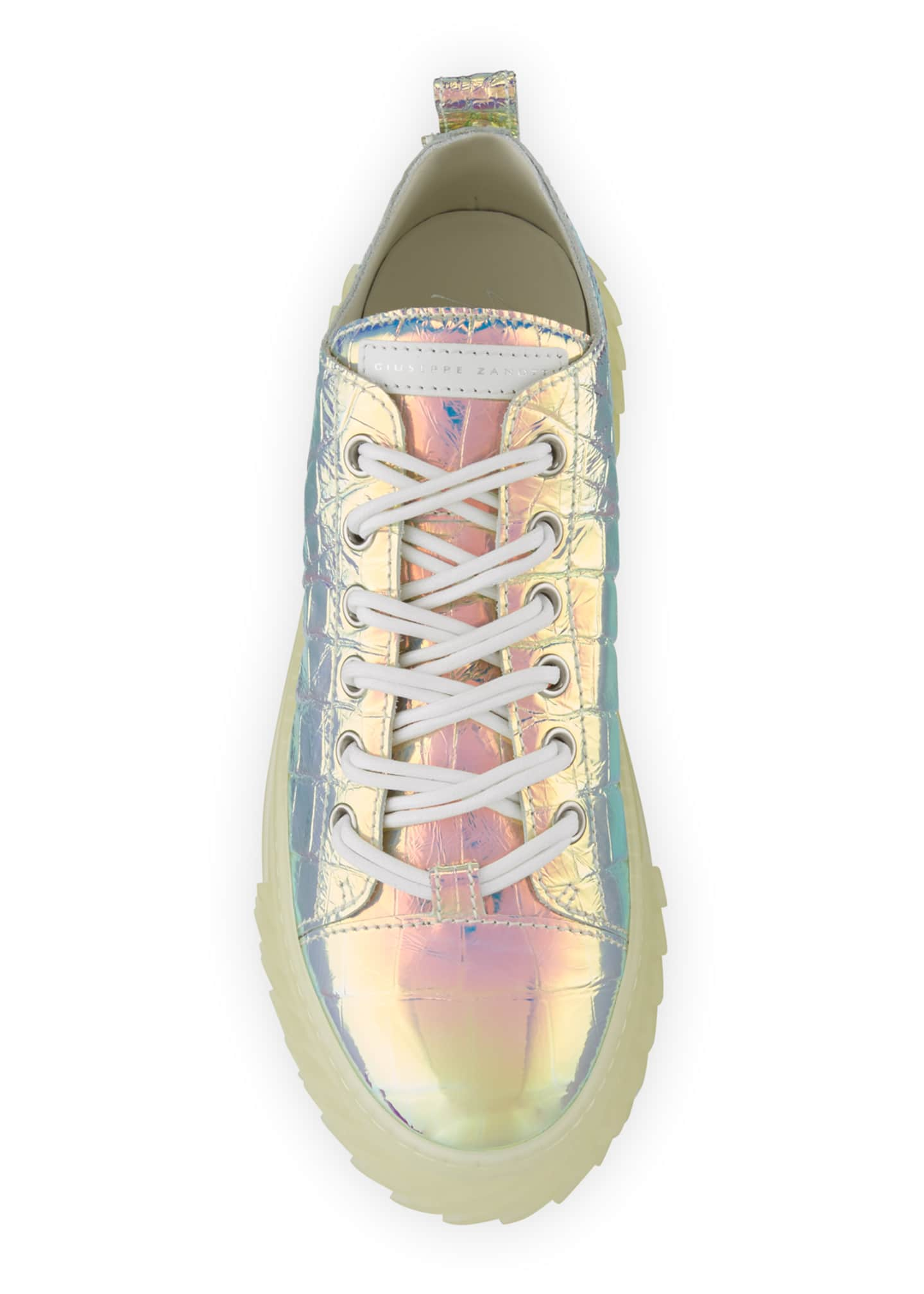 Image 2 of 4: Men's Iridescent Croc-Embossed Sneakers