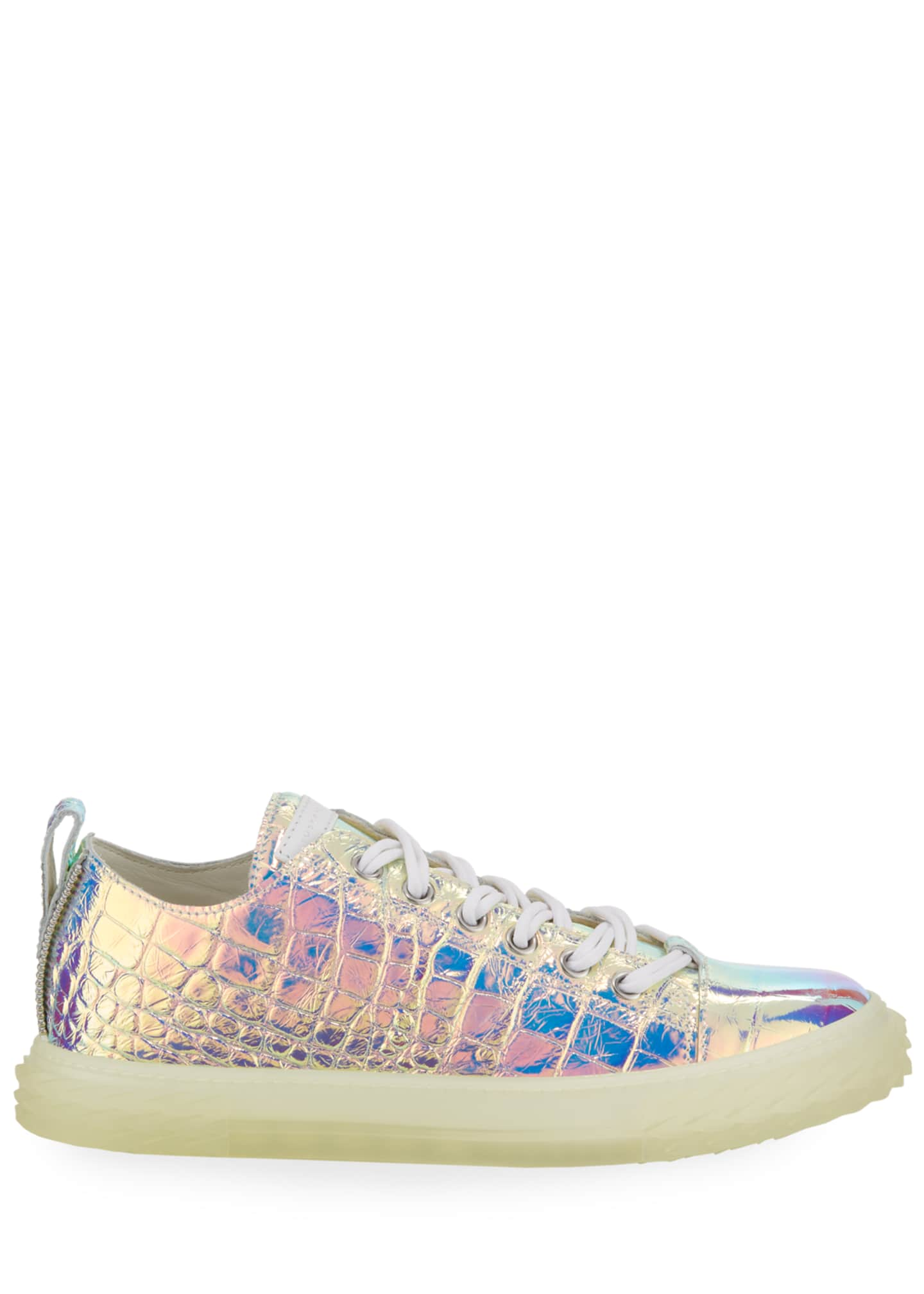 Image 3 of 4: Men's Iridescent Croc-Embossed Sneakers