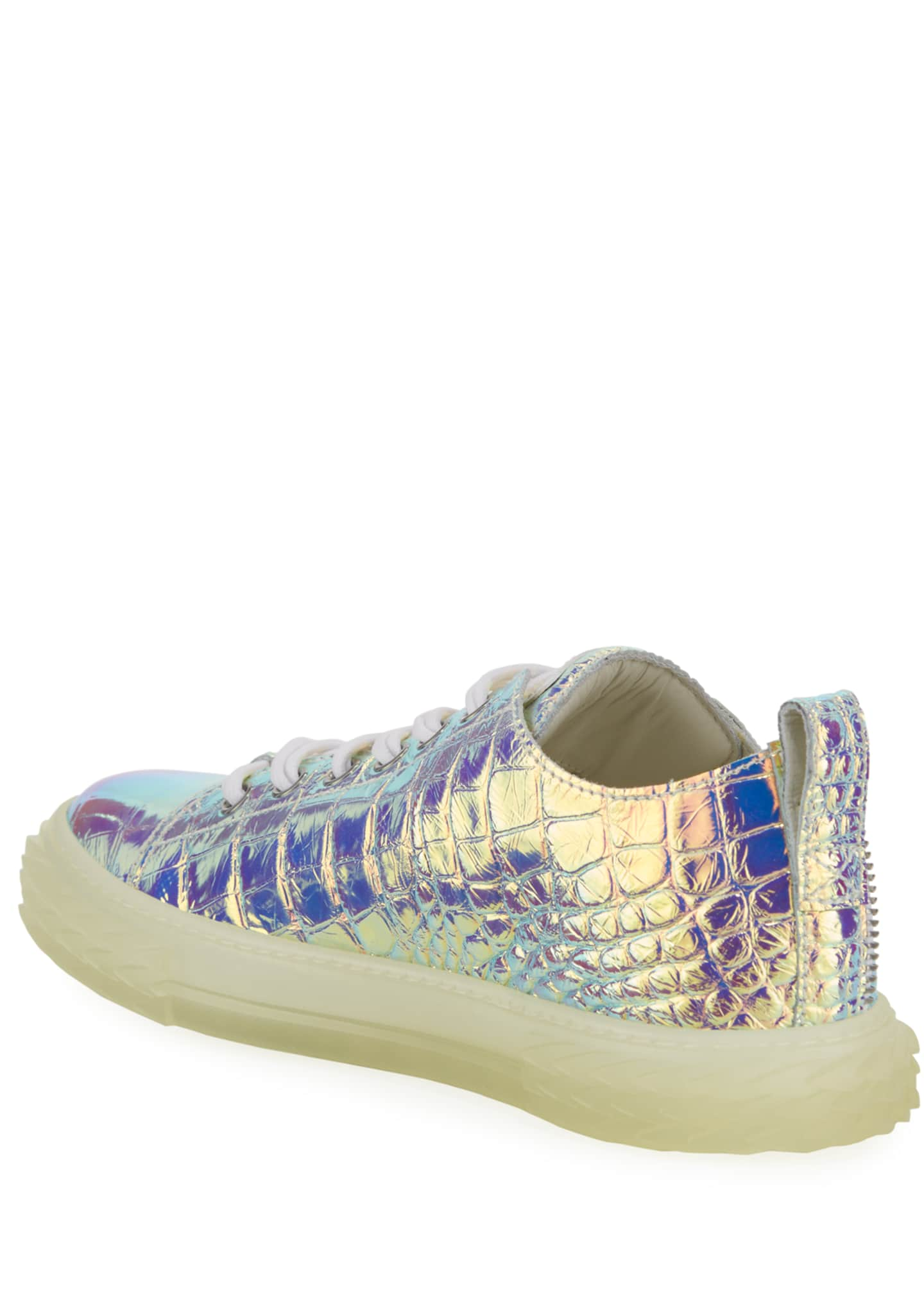 Image 4 of 4: Men's Iridescent Croc-Embossed Sneakers