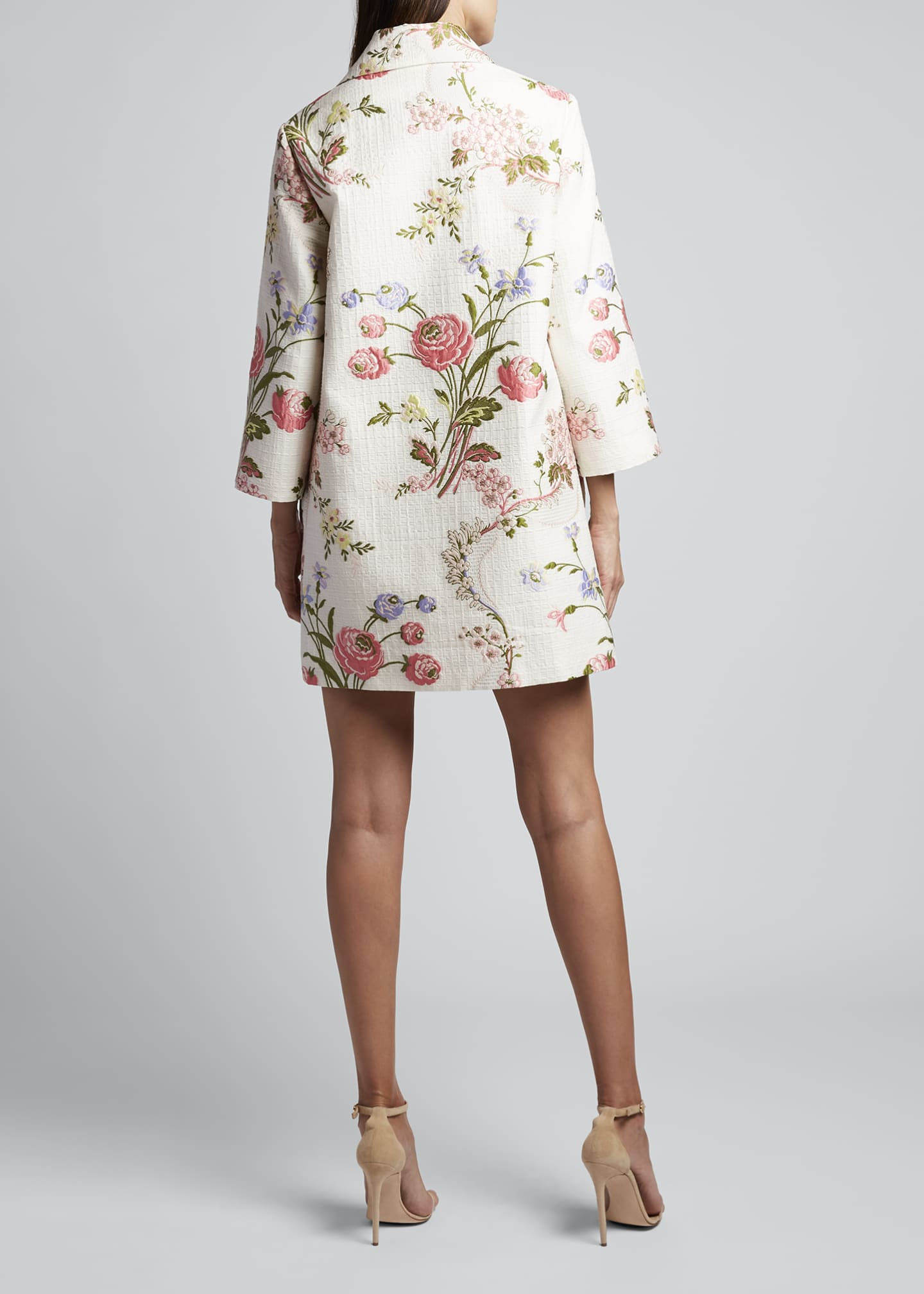 Image 2 of 3: 3/4-Sleeve Floral Swing Coat