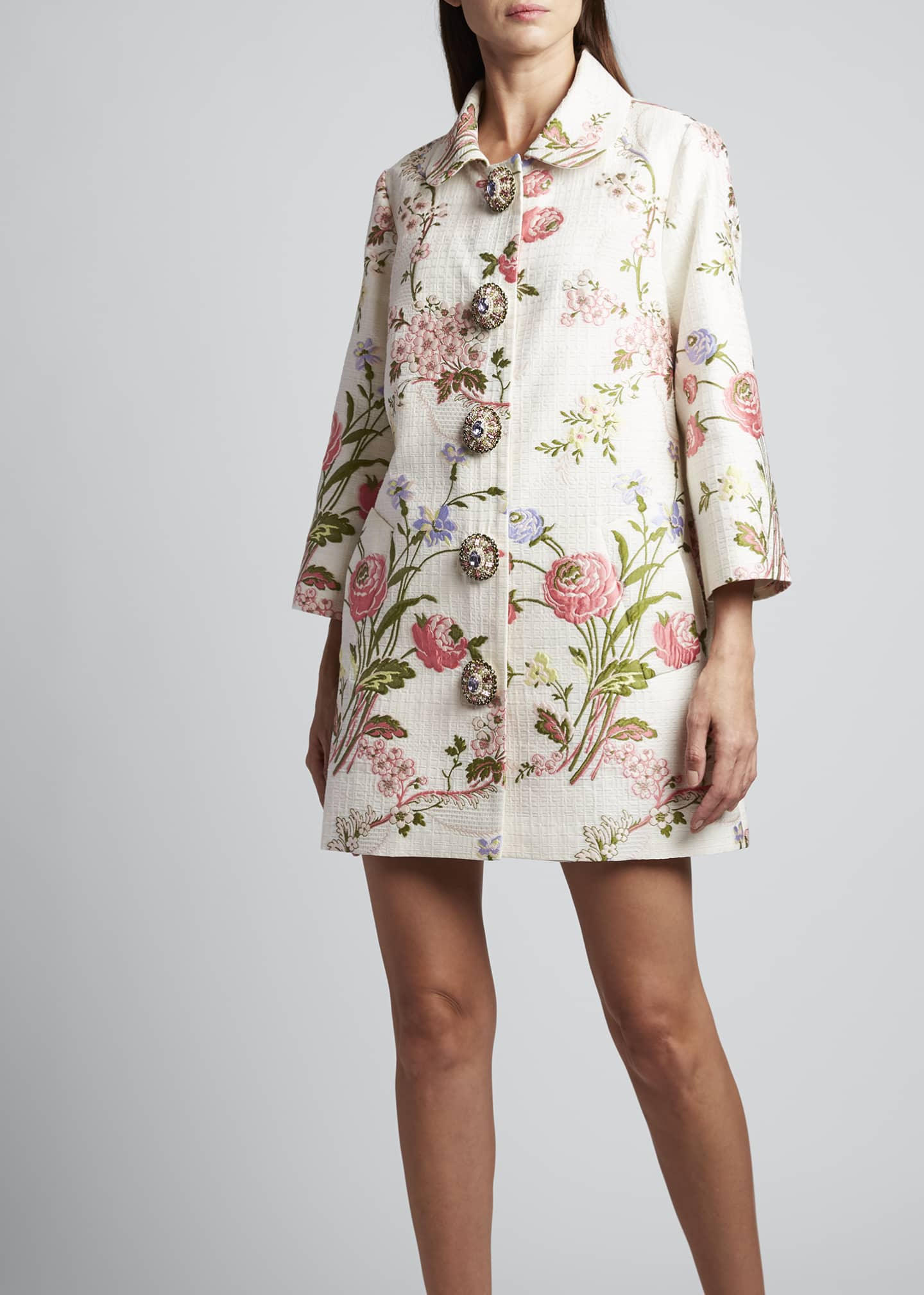 Image 3 of 3: 3/4-Sleeve Floral Swing Coat