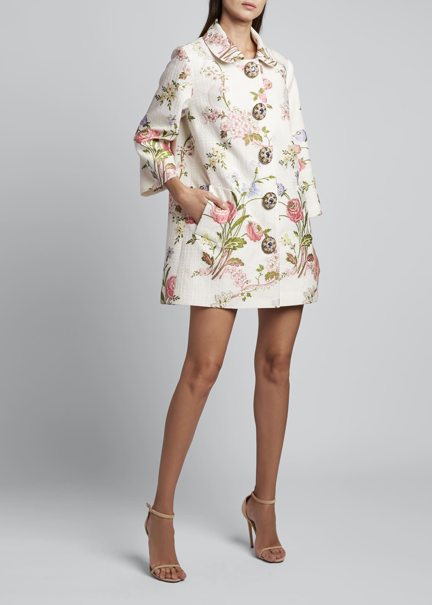 Image 1 of 3: 3/4-Sleeve Floral Swing Coat