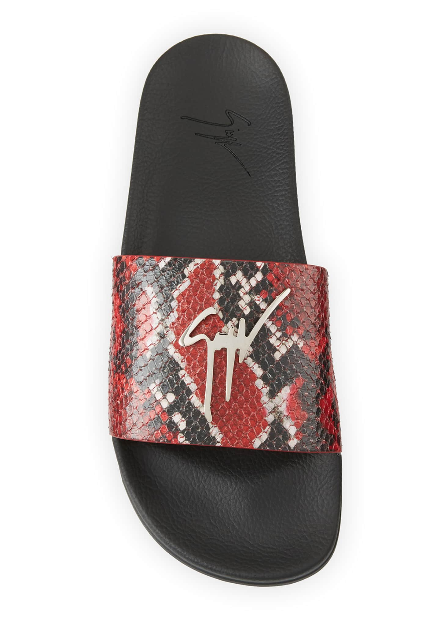 Image 2 of 4: Men's Snake-Embossed Leather Logo Slide Sandals