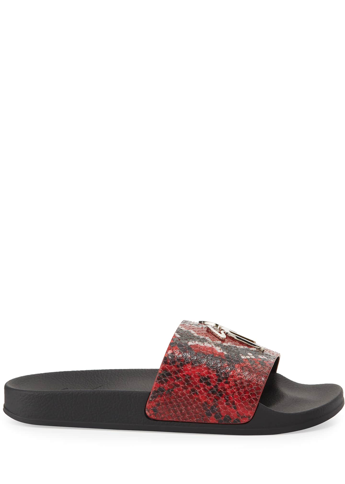 Image 3 of 4: Men's Snake-Embossed Leather Logo Slide Sandals
