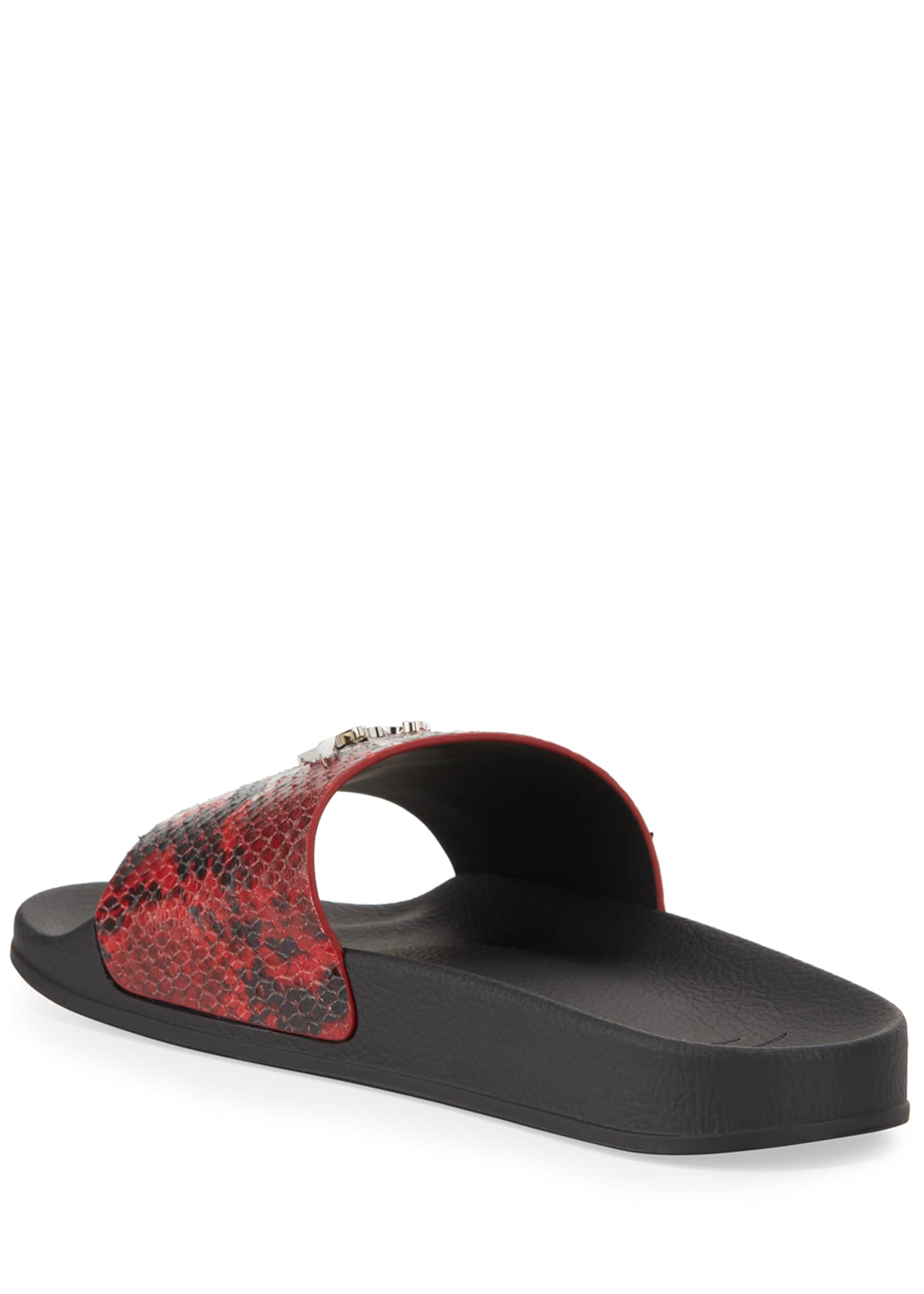 Image 4 of 4: Men's Snake-Embossed Leather Logo Slide Sandals