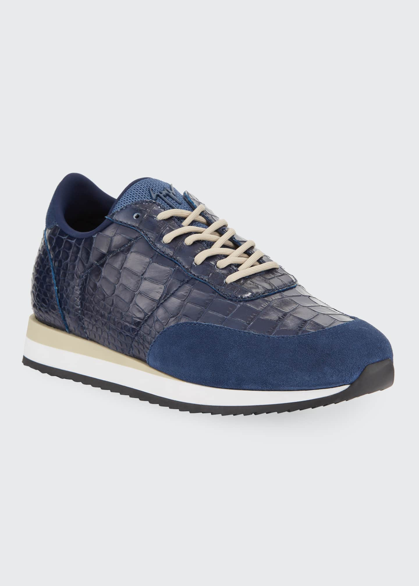 Image 1 of 4: Men's Braky Croc-Embossed Leather Sneakers