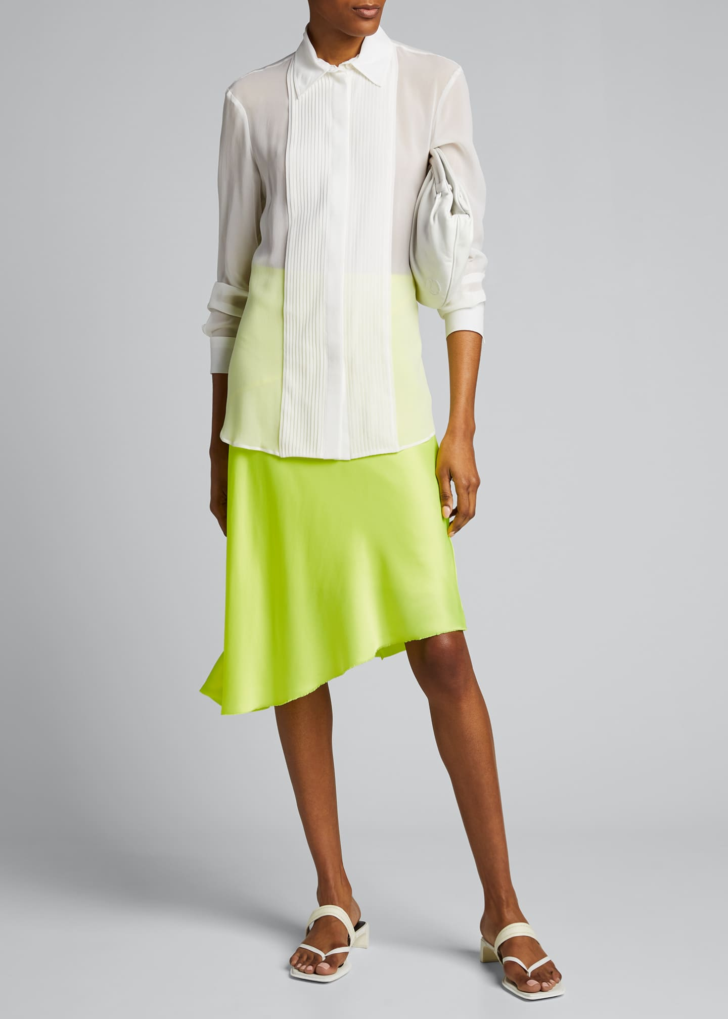 Image 1 of 5: Asymmetric Satin Skirt