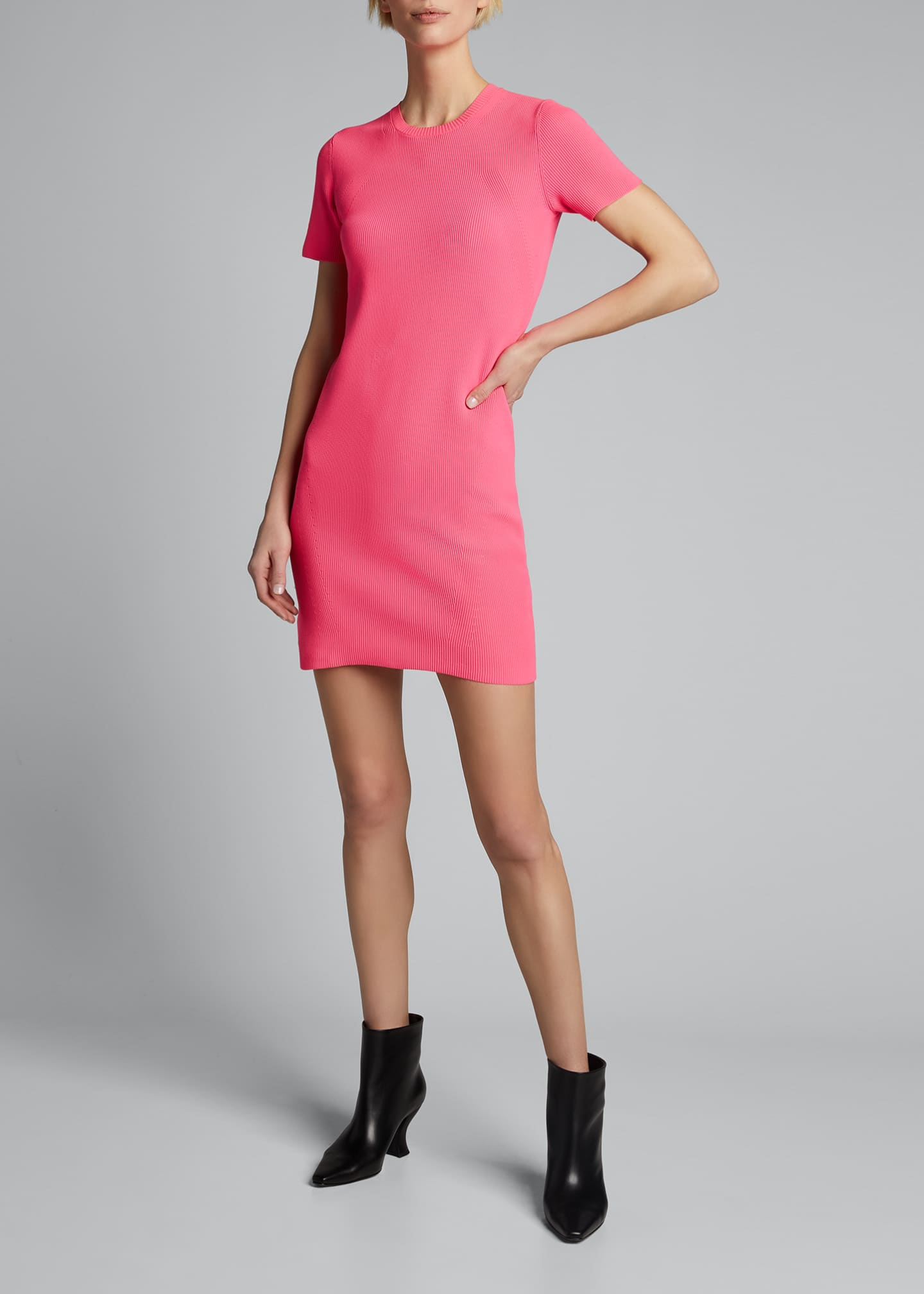 Image 3 of 5: Ribbed Neon Mini Dress
