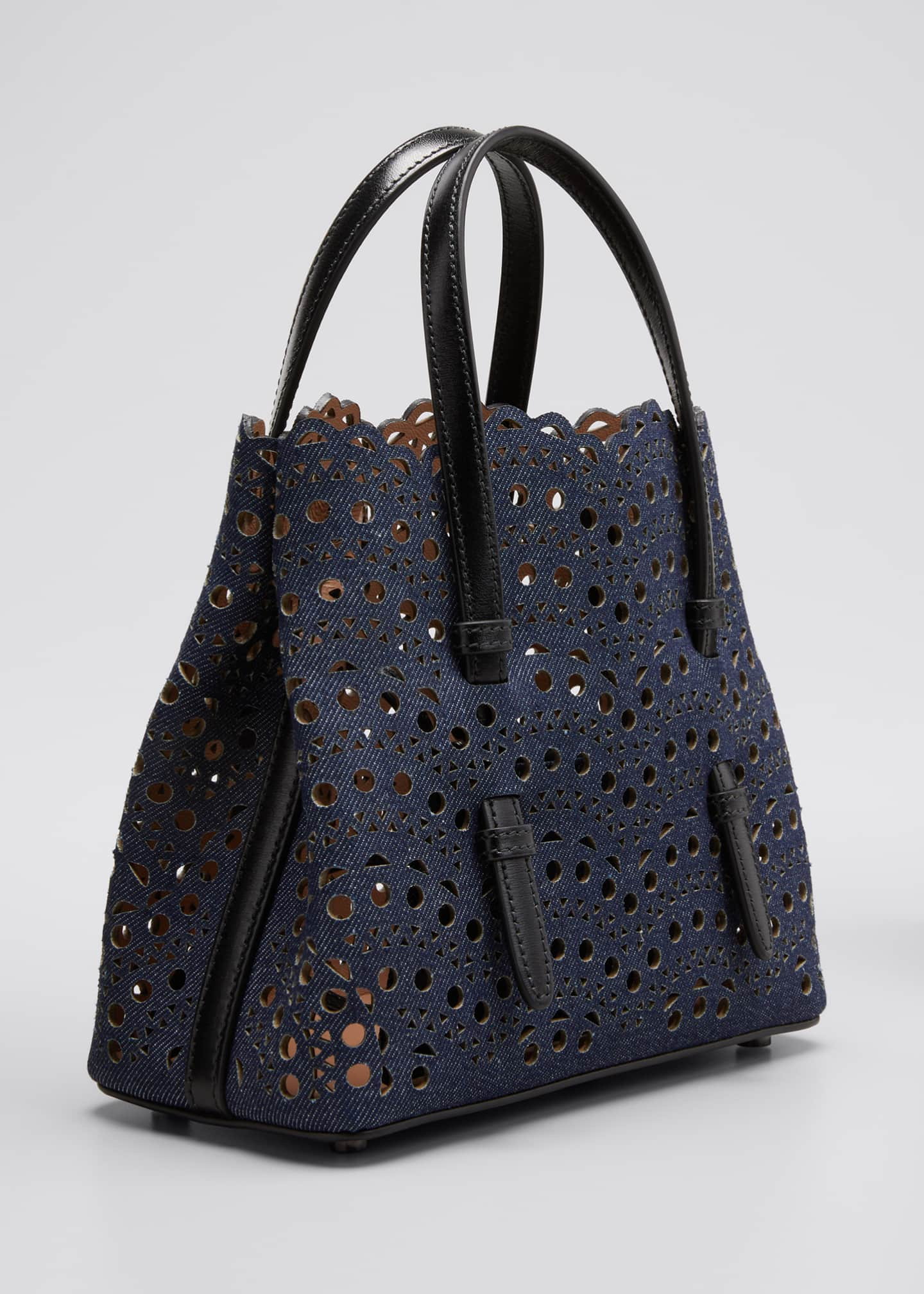 Image 3 of 5: Mina Mini Laser-Cut Denim Tote Bag