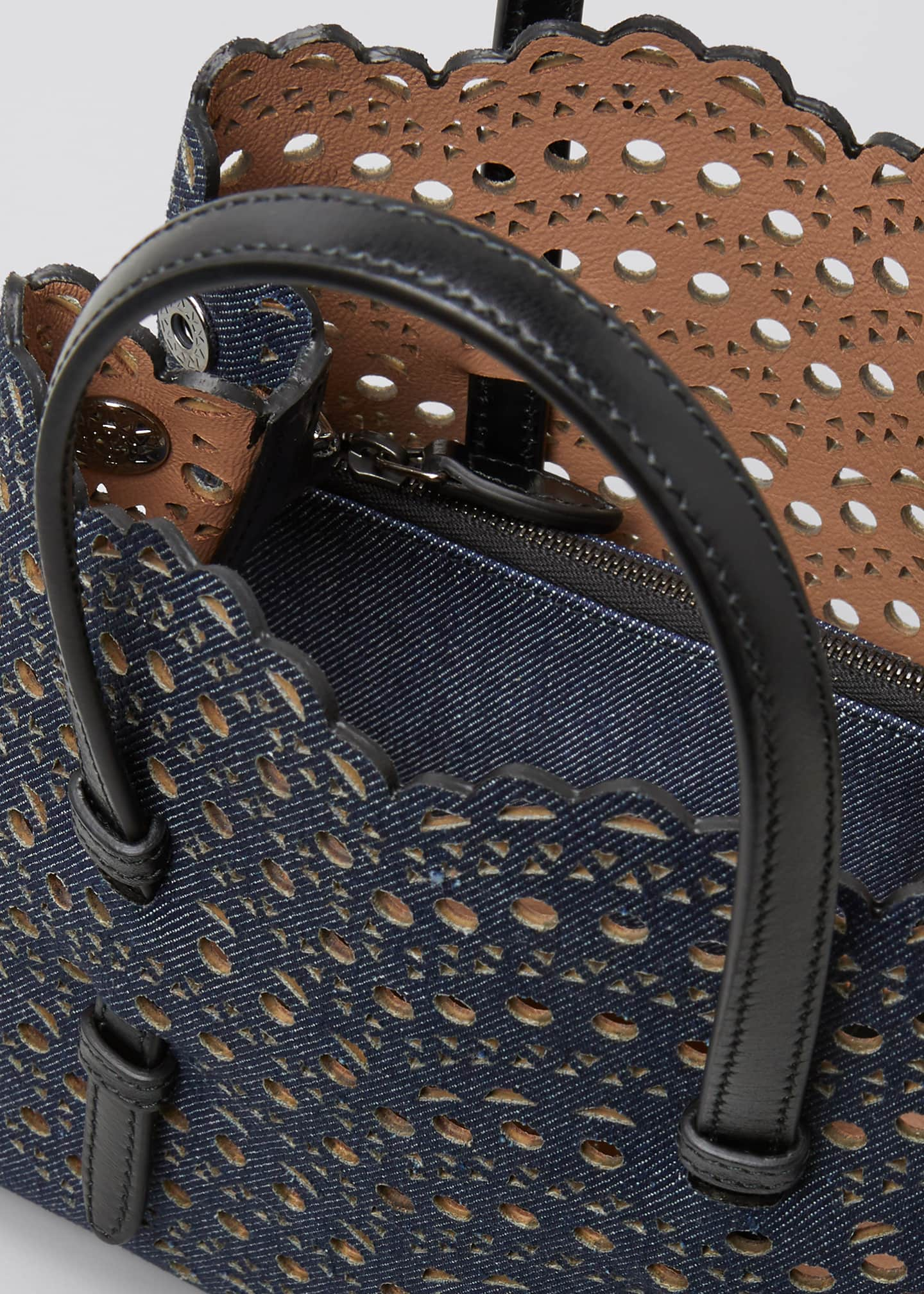 Image 4 of 5: Mina Mini Laser-Cut Denim Tote Bag