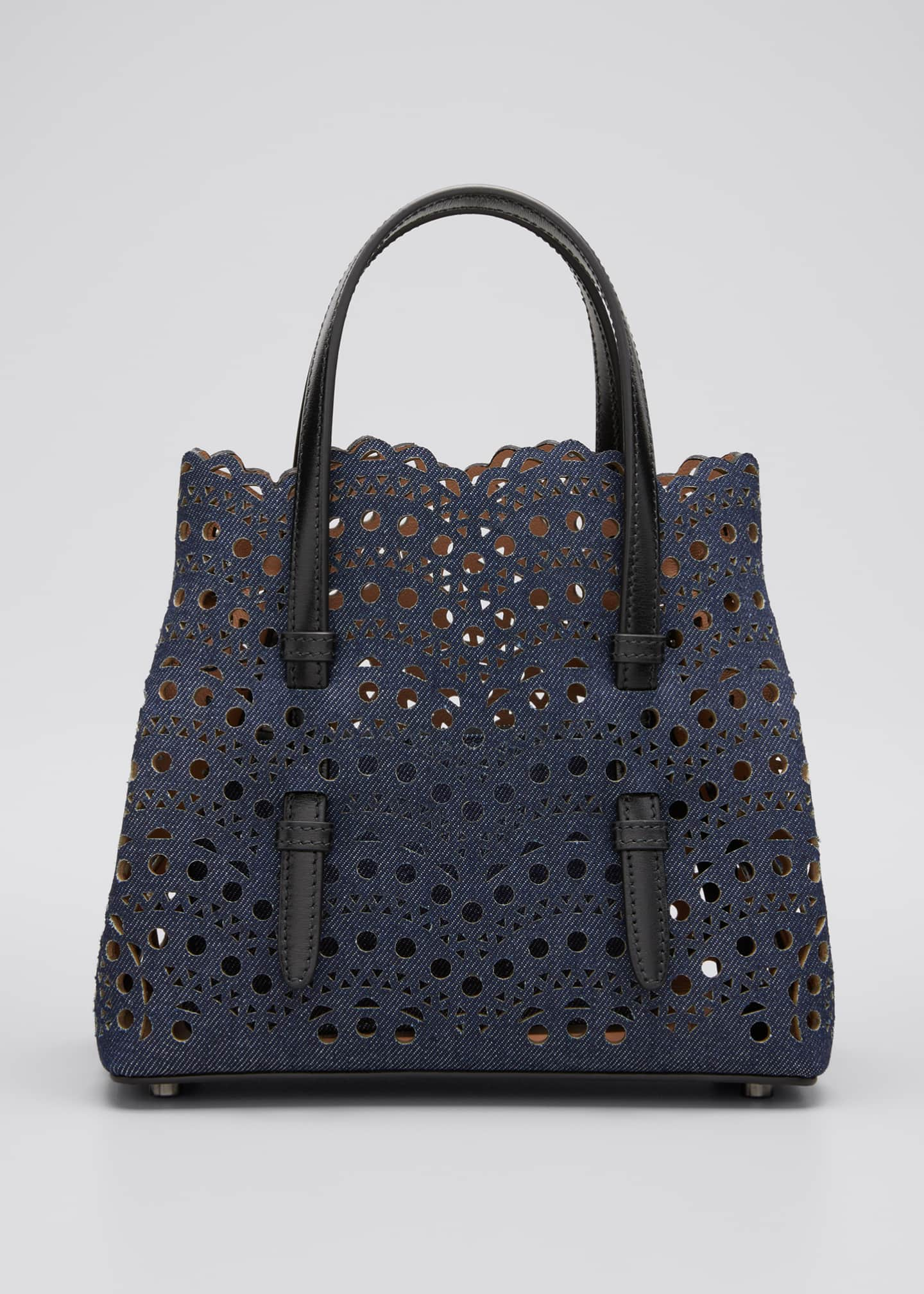 Image 1 of 5: Mina Mini Laser-Cut Denim Tote Bag