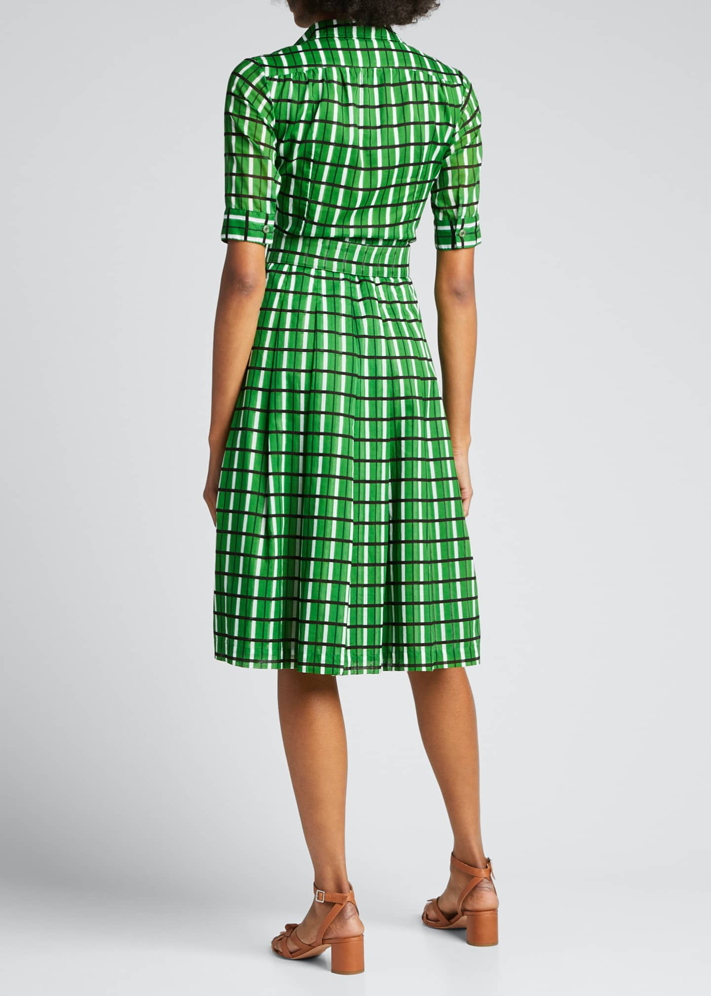 Image 2 of 5: Audrey 3 Roman Check 1/2-Sleeve Belted Shirtdress