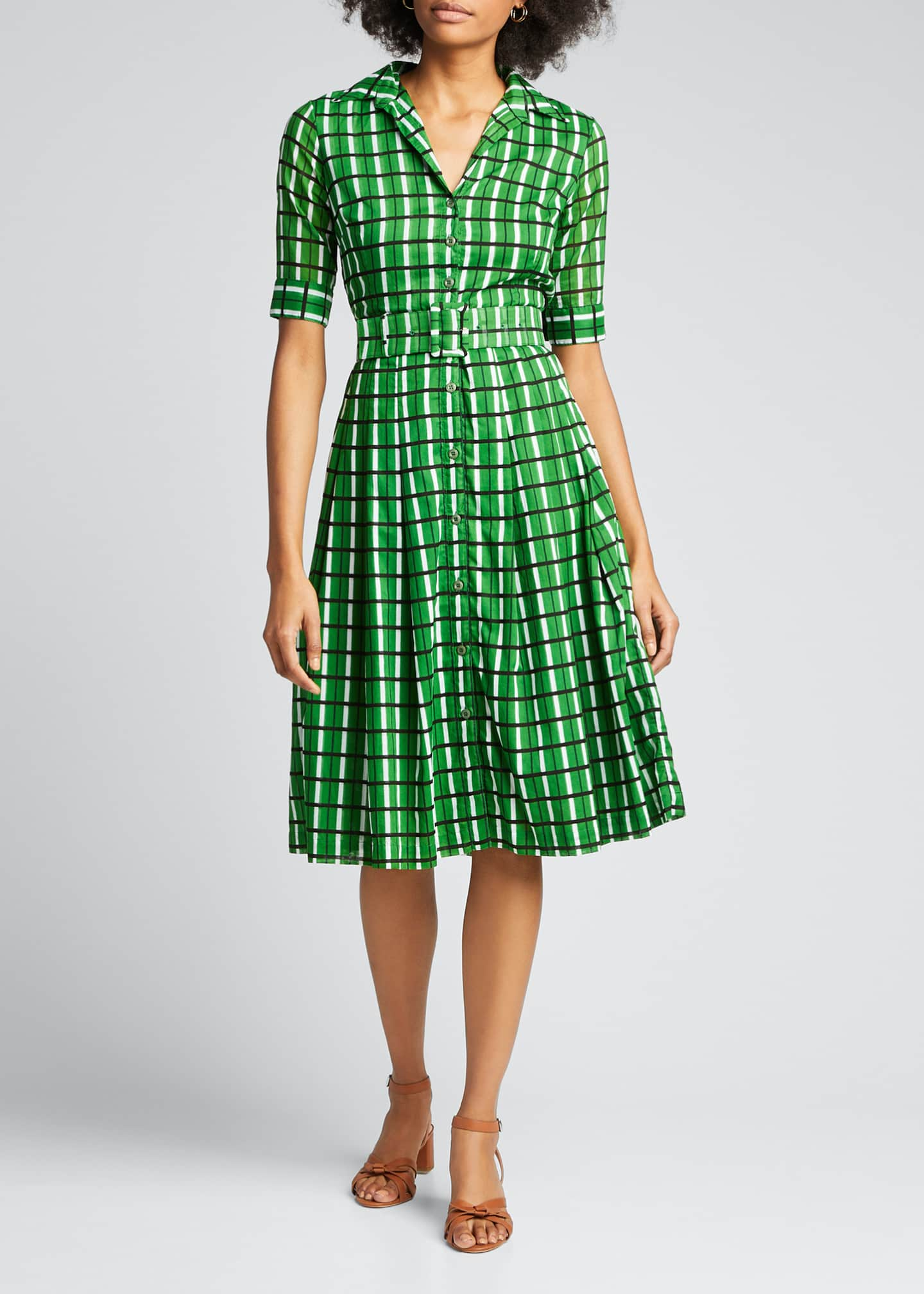 Image 3 of 5: Audrey 3 Roman Check 1/2-Sleeve Belted Shirtdress