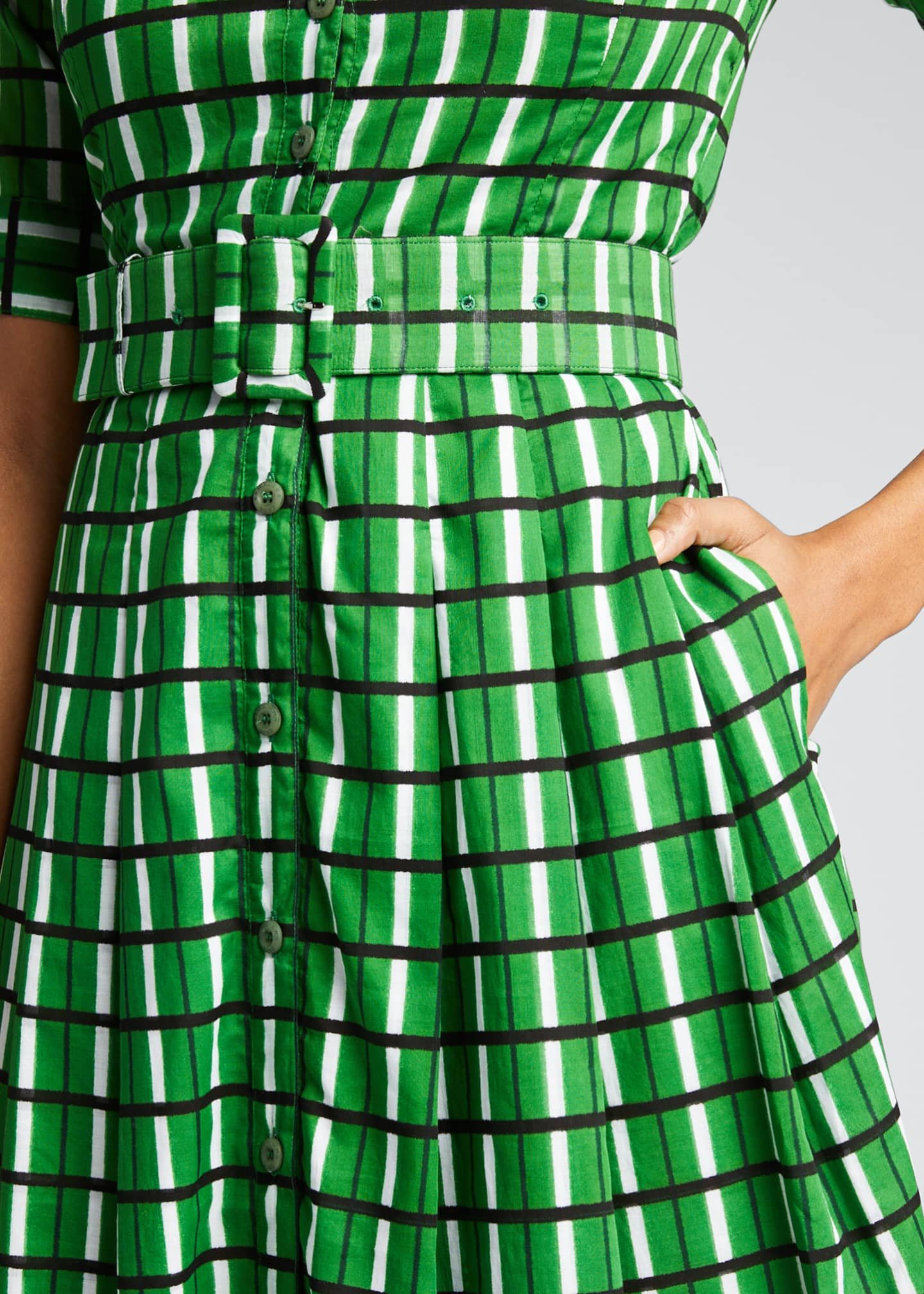 Image 4 of 5: Audrey 3 Roman Check 1/2-Sleeve Belted Shirtdress