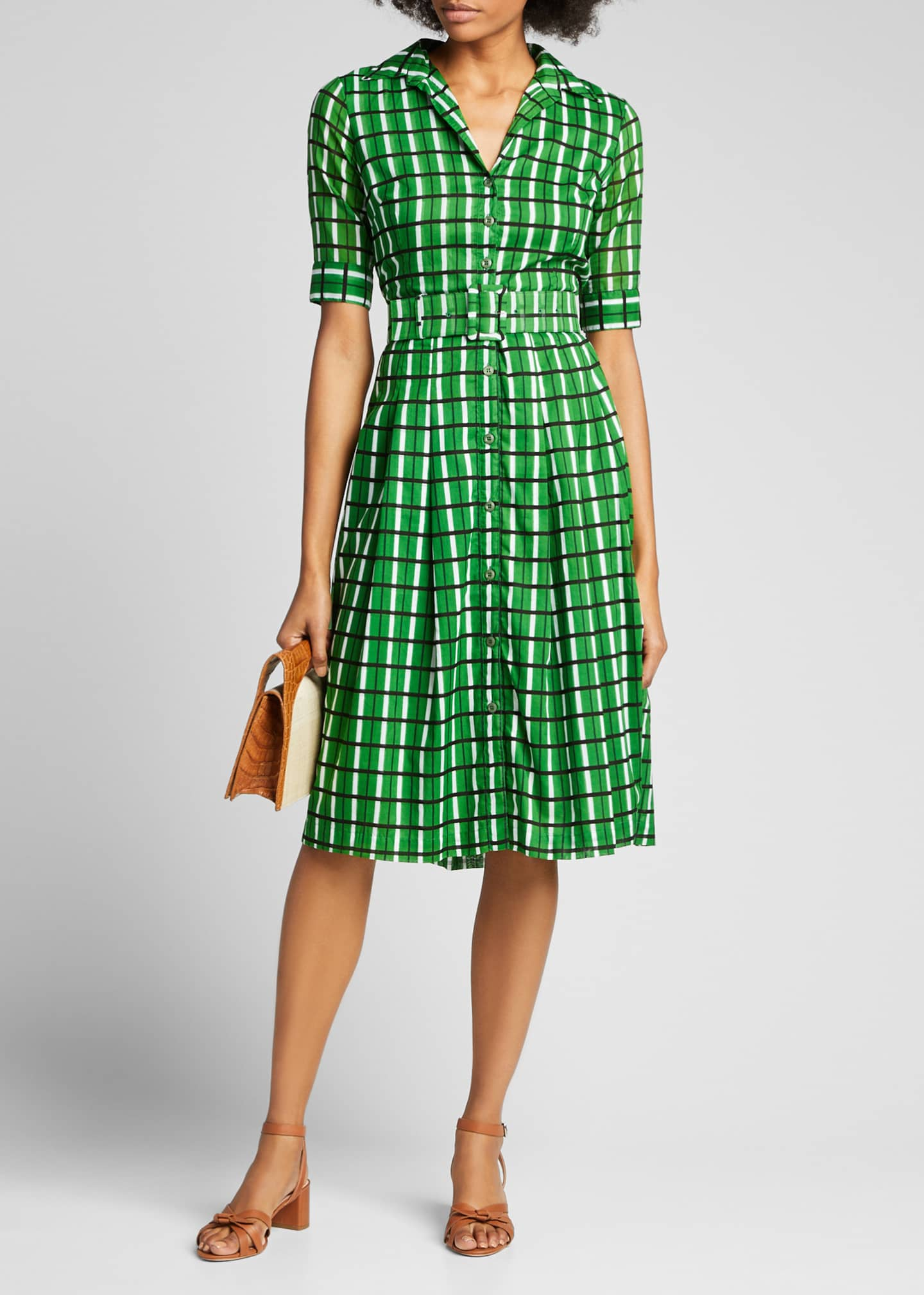 Image 1 of 5: Audrey 3 Roman Check 1/2-Sleeve Belted Shirtdress
