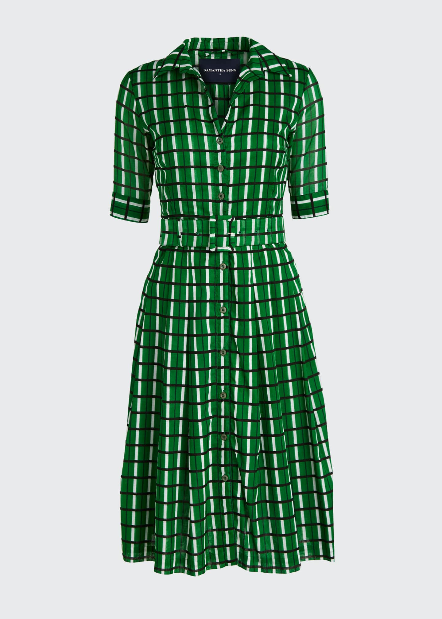 Image 5 of 5: Audrey 3 Roman Check 1/2-Sleeve Belted Shirtdress