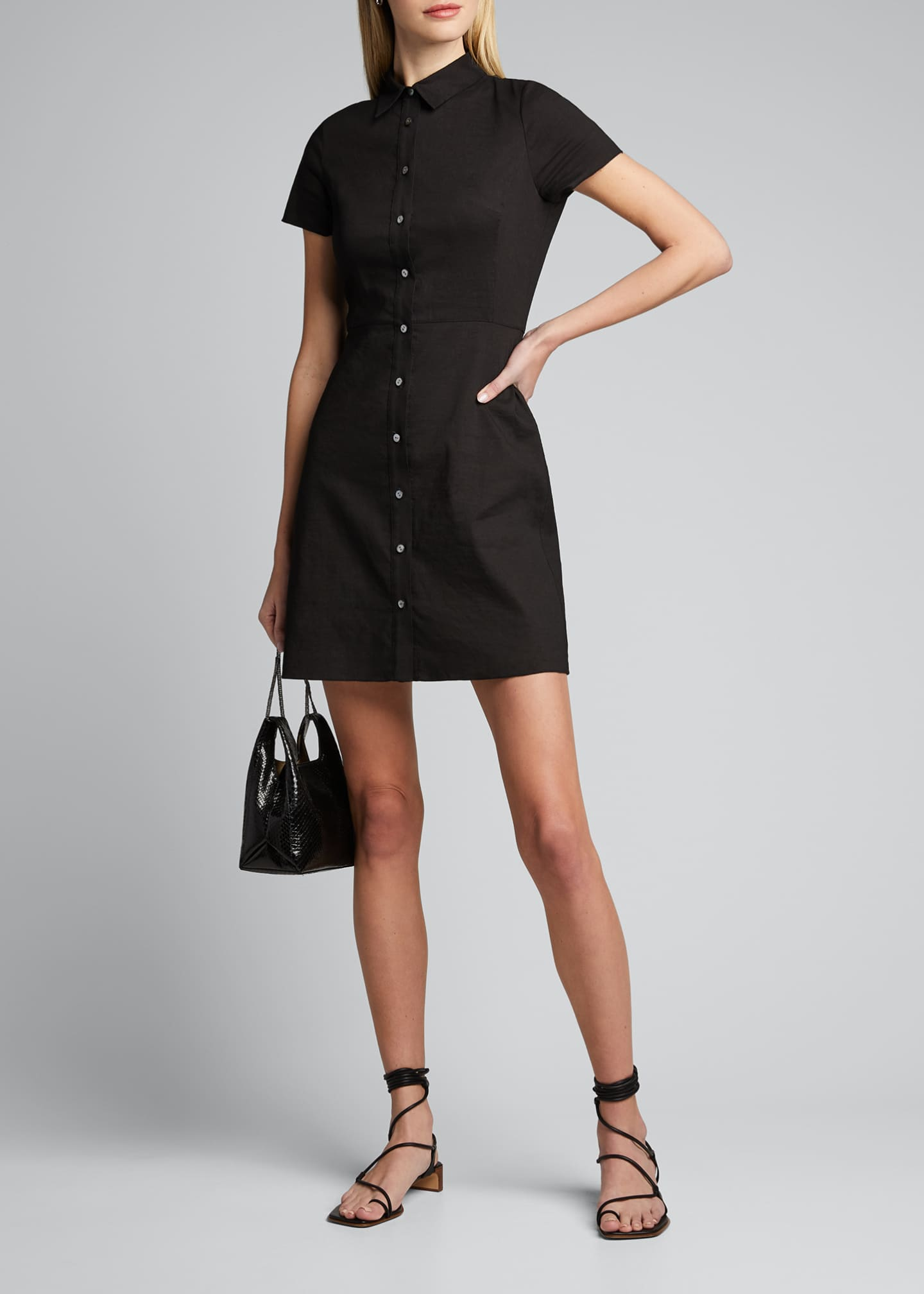 Image 1 of 5: Button-Down Short-Sleeve Shirtdress