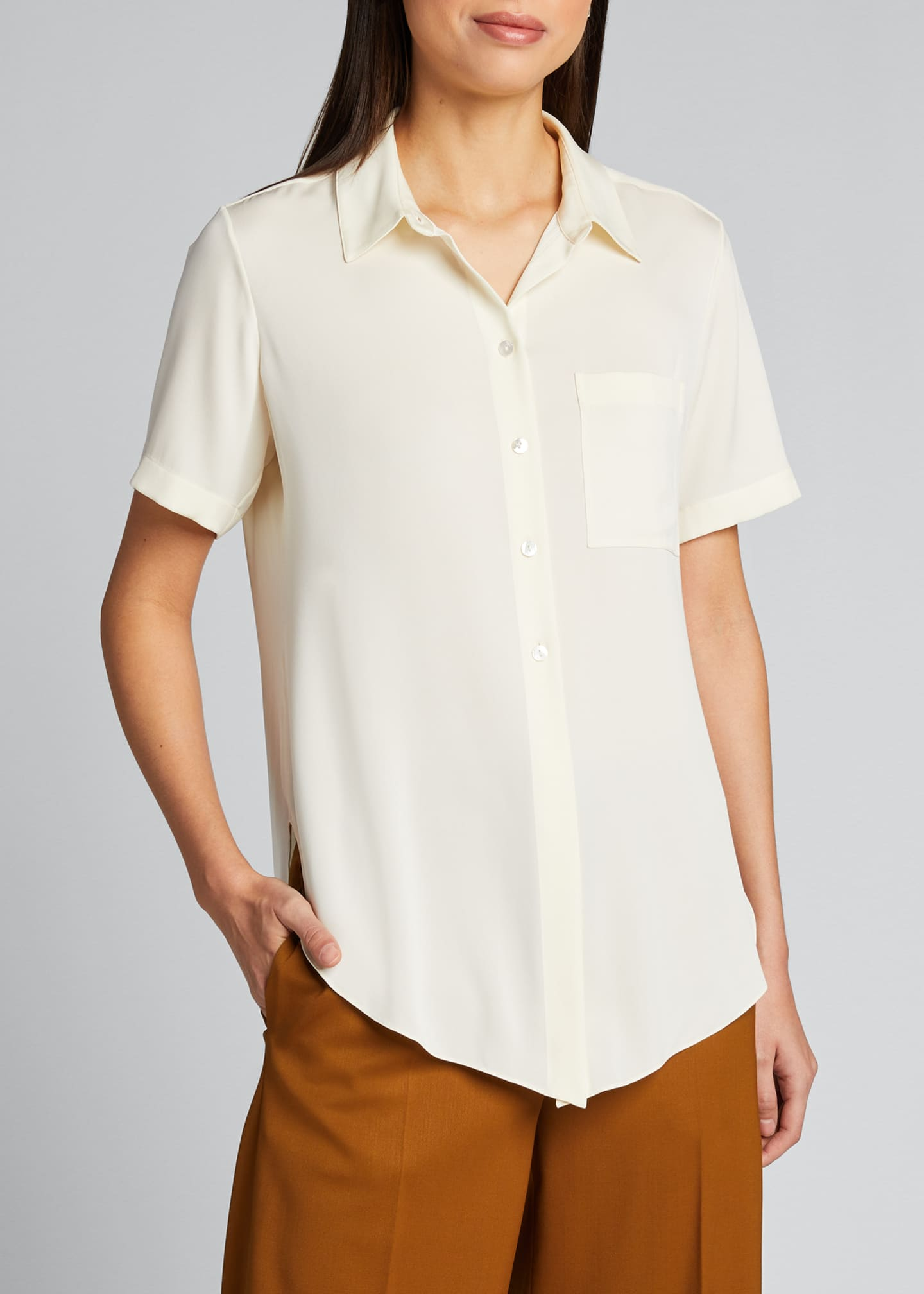 Image 3 of 5: Hekanina Stretch Silk Button-Down Shirt