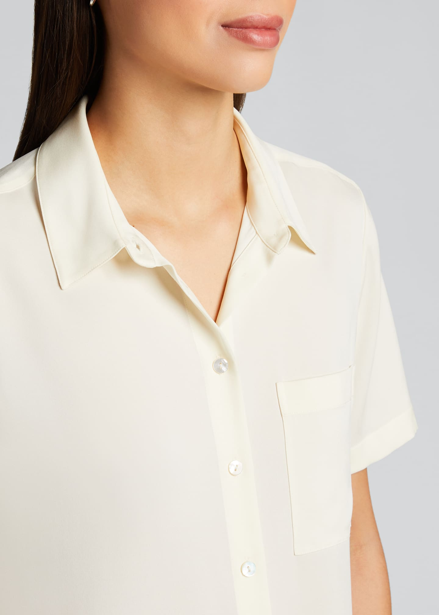 Image 4 of 5: Hekanina Stretch Silk Button-Down Shirt