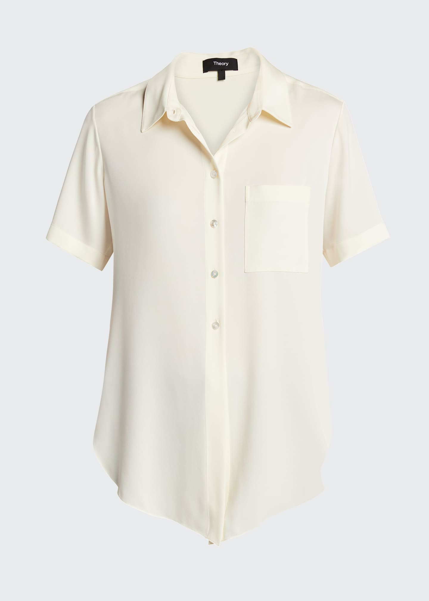 Image 5 of 5: Hekanina Stretch Silk Button-Down Shirt