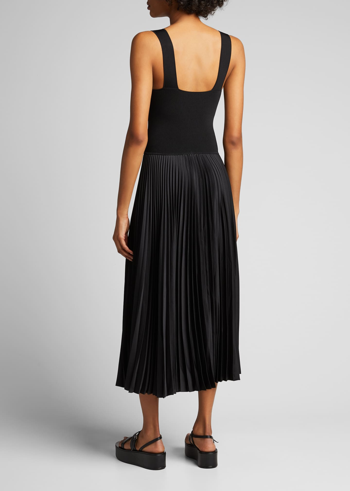 Image 2 of 5: Square-Neck Ribbed Midi Dress