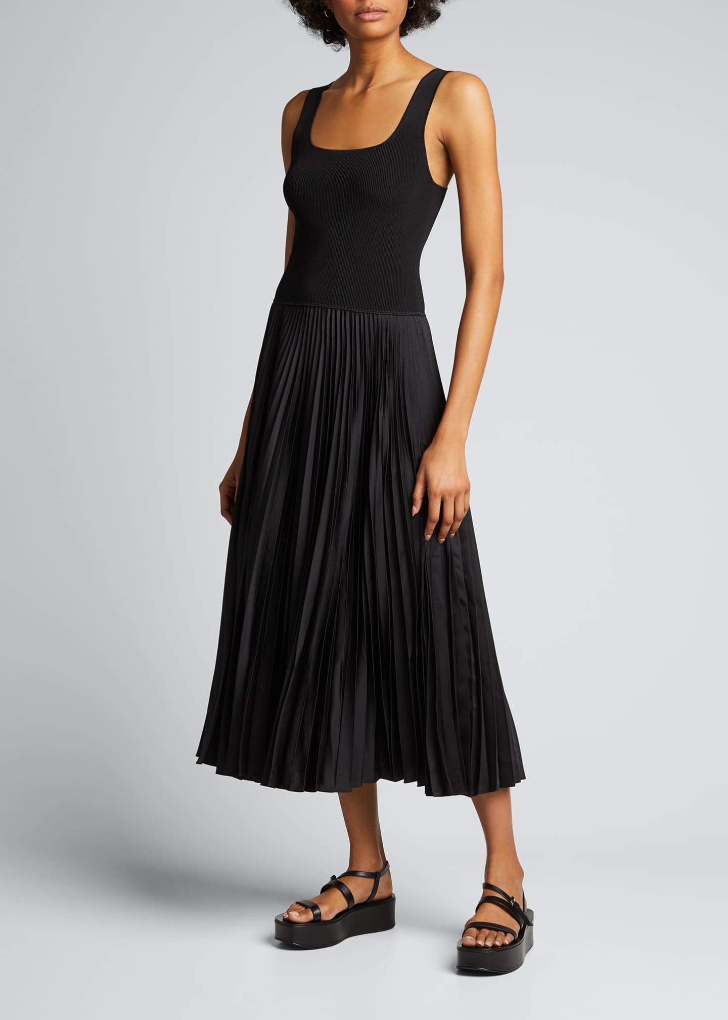 Image 3 of 5: Square-Neck Ribbed Midi Dress