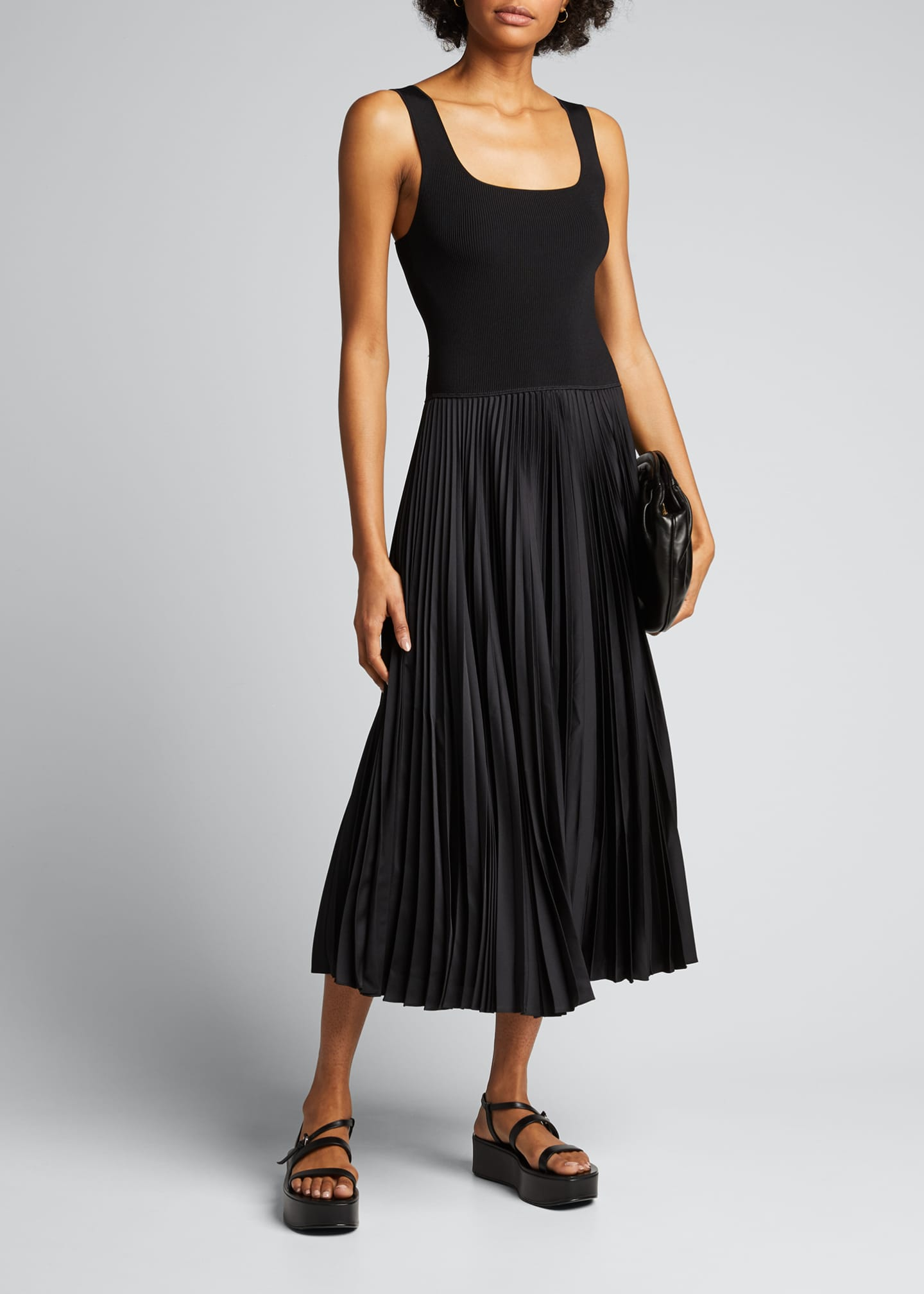 Image 1 of 5: Square-Neck Ribbed Midi Dress