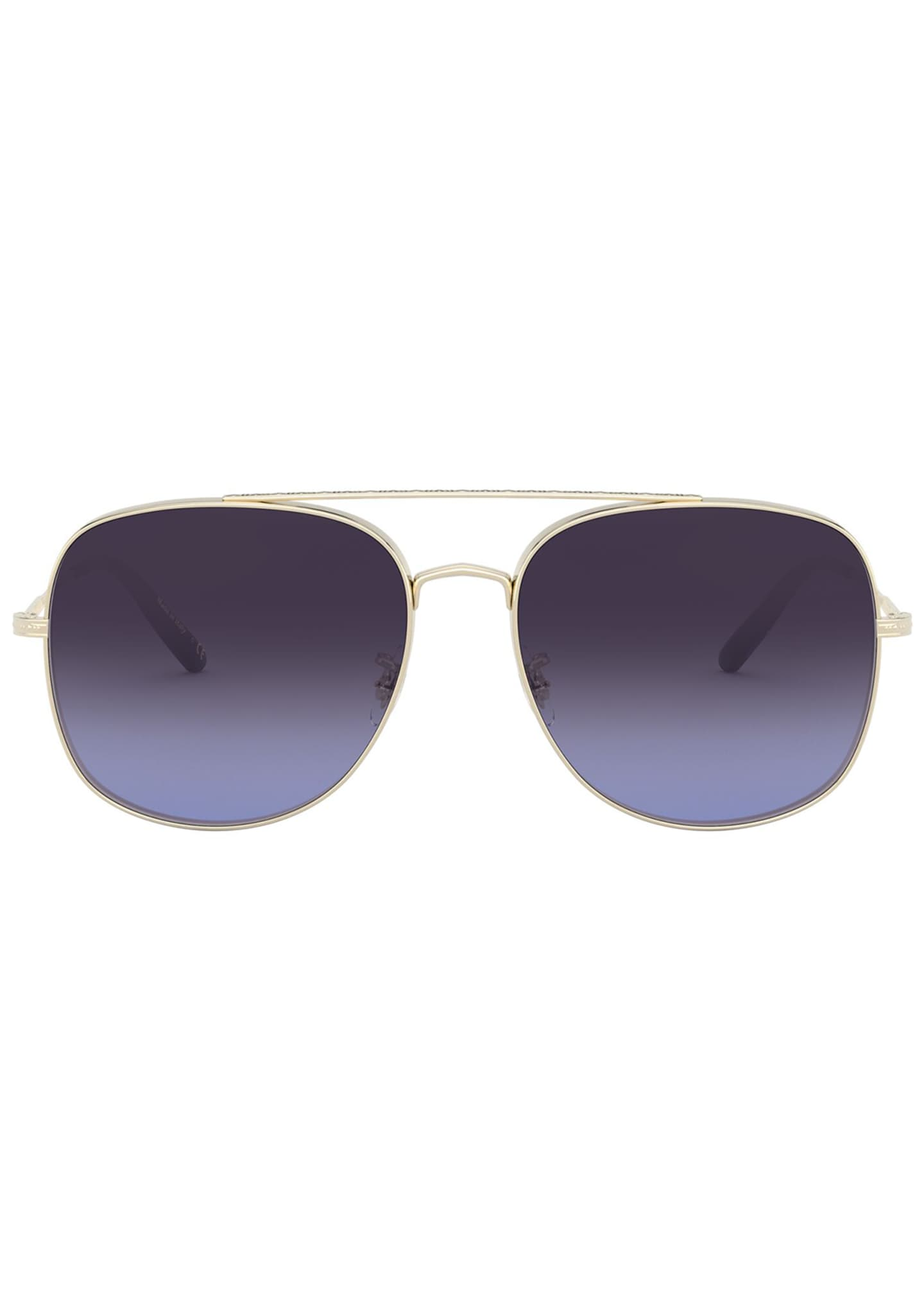 Image 2 of 2: Taron Square Aviator Metal Sunglasses